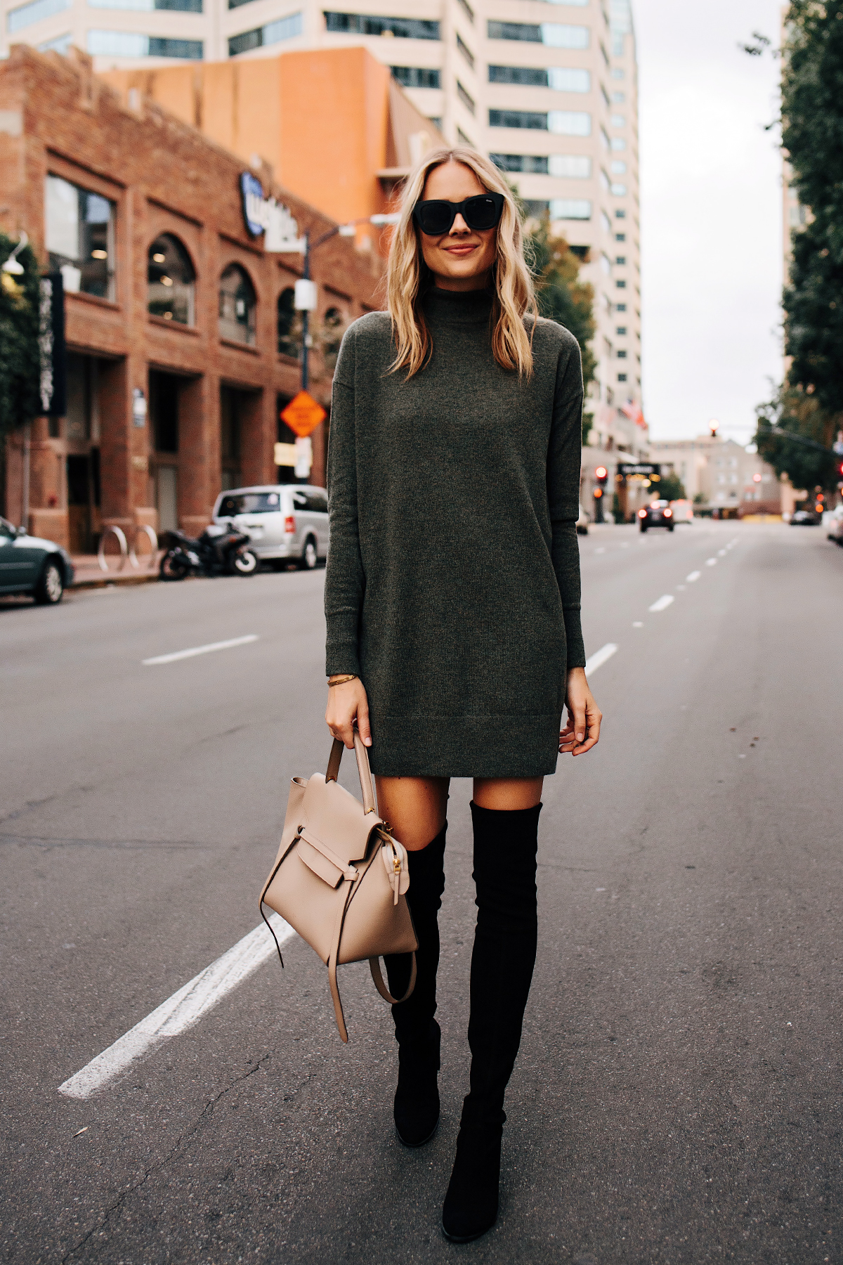 Blonde Woman Wearing Everlane Sweater Dress Stuart Weitzman Black OTK Boots Outfit Celine Mini Belt Bag Taupe Fashion Jackson San Diego Fashion Blogger Street Style