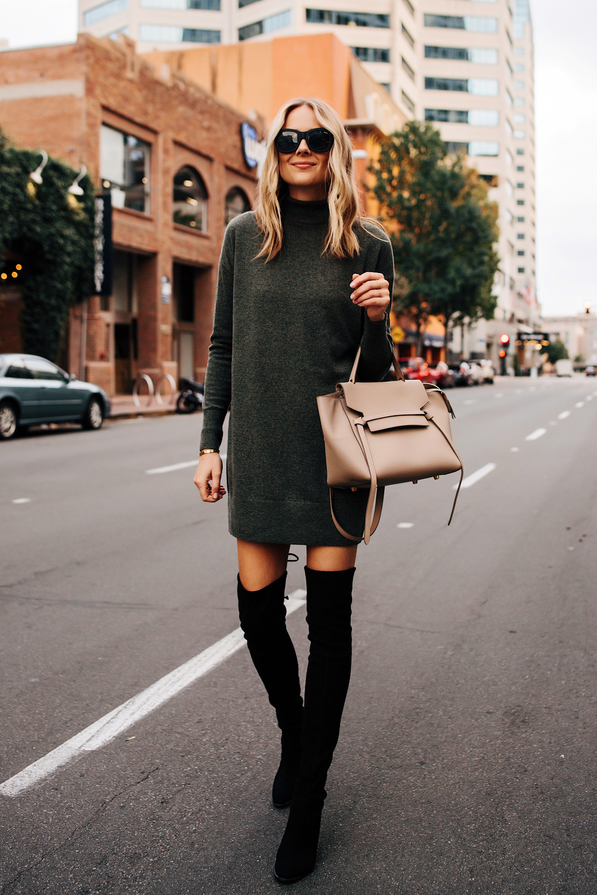 Blonde Woman Wearing Everlane Sweater Dress Stuart Weitzman Black OTK Boots Outfit Celine Mini Belt Bag Fashion Jackson San Diego Fashion Blogger Street Style