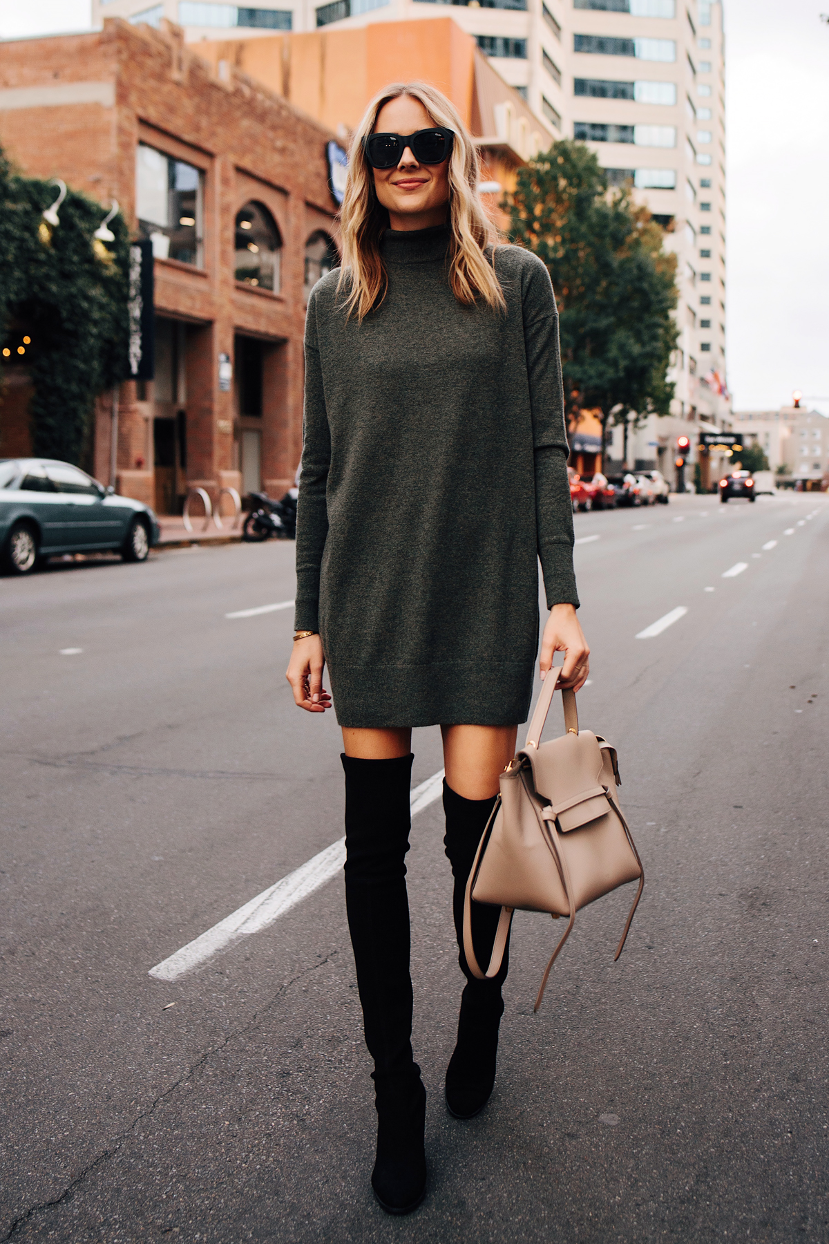 Blonde Woman Wearing Everlane Sweater Dress Stuart Weitzman Black Over the Knee Boots Outfit Celine Mini Belt Bag Taupe Fashion Jackson San Diego Fashion Blogger Street Style