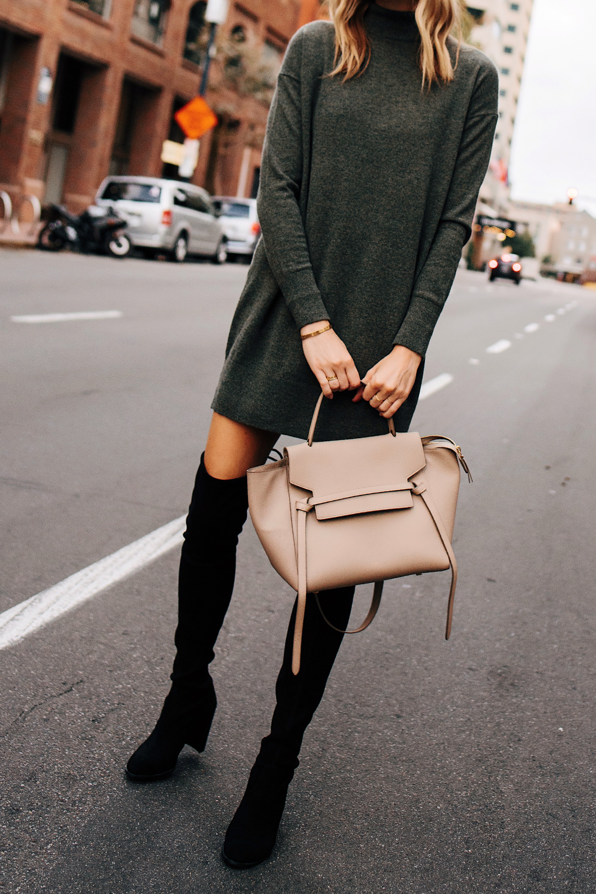 Blonde Woman Wearing Everlane Sweater Dress Stuart Weitzman Black Over the Knee Boots Outfit Celine Mini Belt Bag Fashion Jackson San Diego Fashion Blogger Street Style