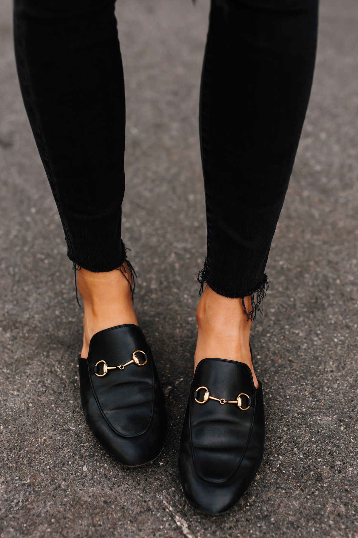 caaaa1279c46 Woman Wearing Gucci Black Princetown Loafer Mules Black Ripped Skinny Jeans  Fashion Jackson San Diego Fashion. Blonde Woman Wearing Madewell Brown Long  ...