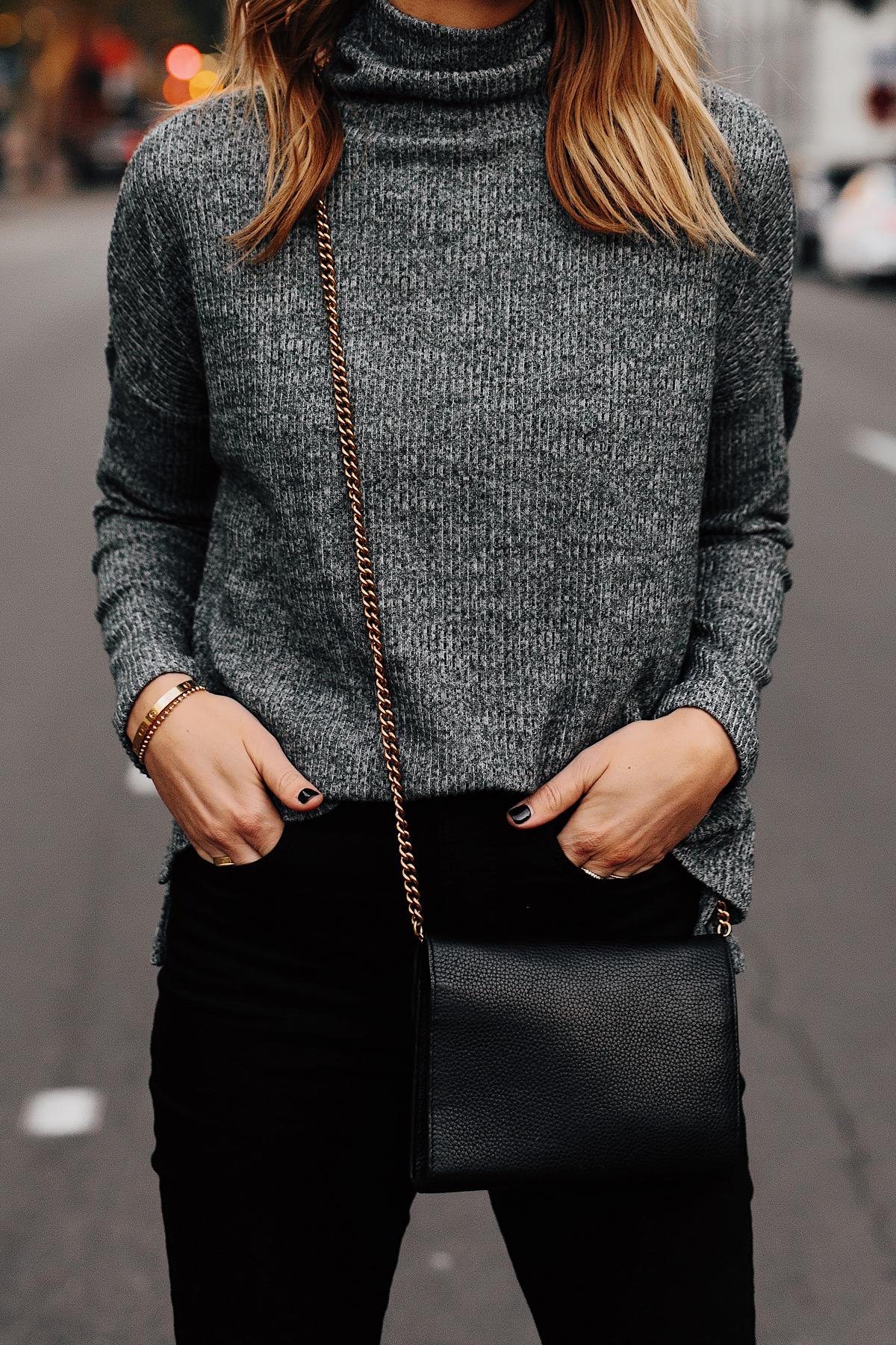 Woman Wearing Heather Grey Turtleneck Black Skinny Jeans Outfit Fashion Jackson San Diego Fashion Blogger Street Style