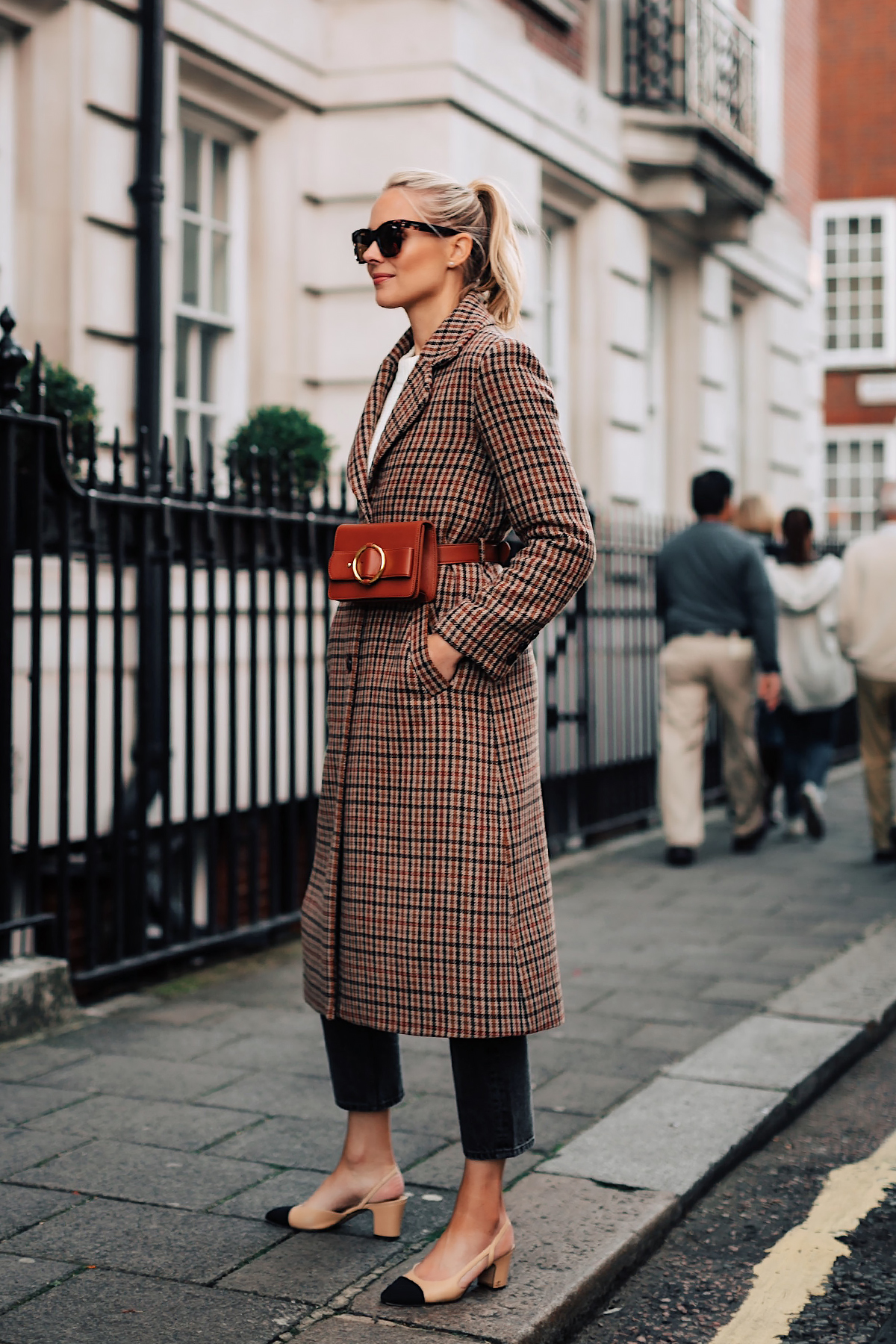 Blonde Woman Wearing Plaid Wool Coat Black Ankle Jeans Chanel Slingbacks Parisa Wang Brown Belt Bag Fashion Jackson San Diego Fashion Blogger London Street Style