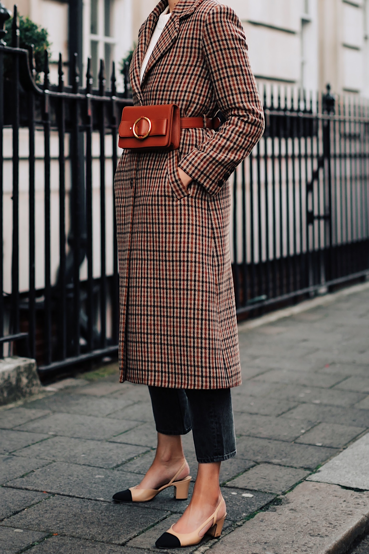 Woman Wearing Plaid Wool Coat Black Ankle Jeans Chanel Slingbacks Parisa Wang Brown Belt Bag Fashion Jackson San Diego Fashion Blogger London Street Style