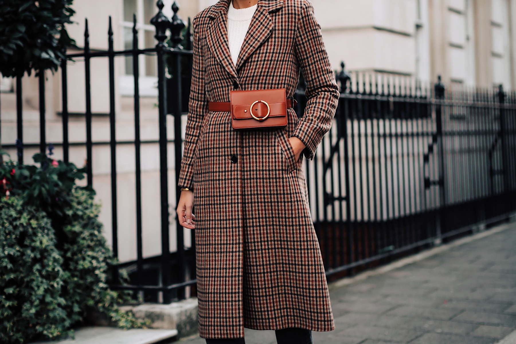 Woman Wearing Plaid Wool Coat Parisa Wang Brown Belt Bag Fashion Jackson San Diego Fashion Blogger London Street Style
