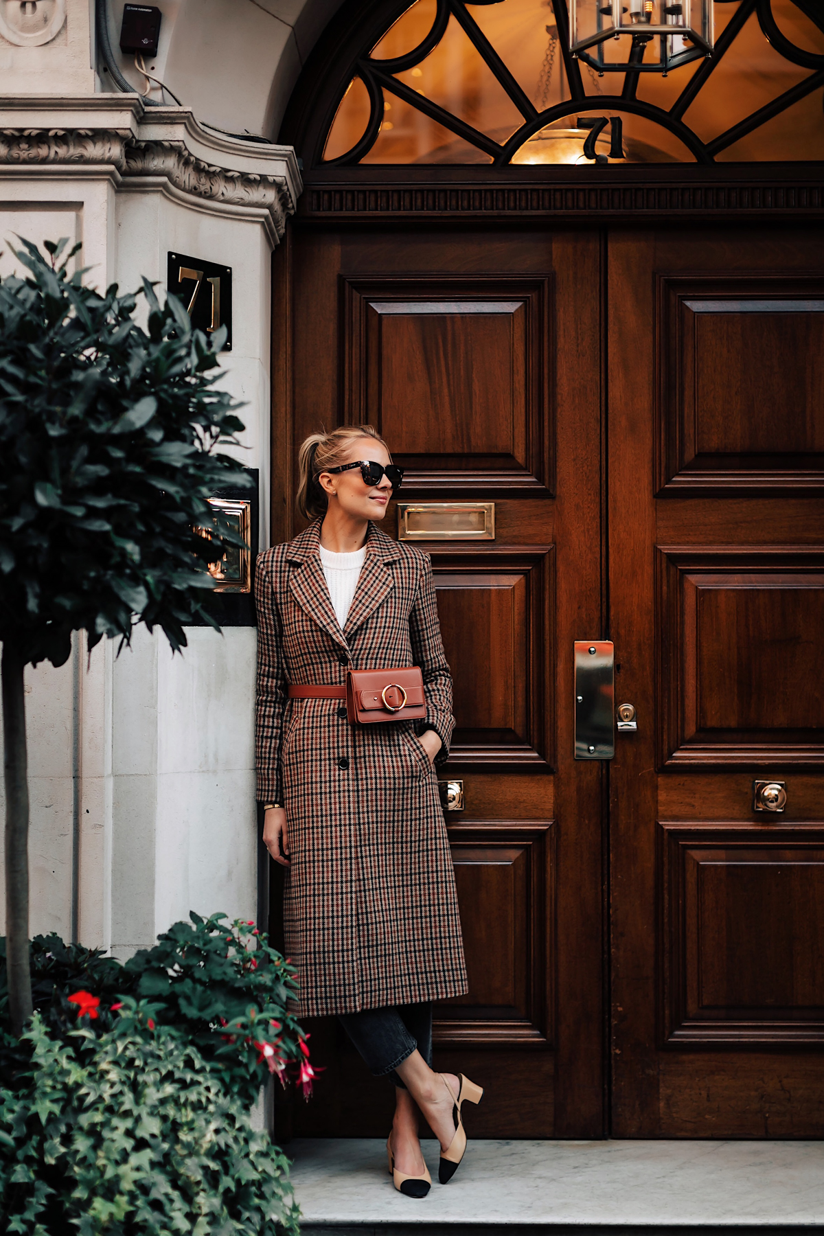 Blonde Woman Wearing Plaid Wool Coat White Sweater Black Ankle Jeans Chanel Slingbacks Parisa Wang Brown Belt Bag Fashion Jackson San Diego Fashion Blogger London Street Style