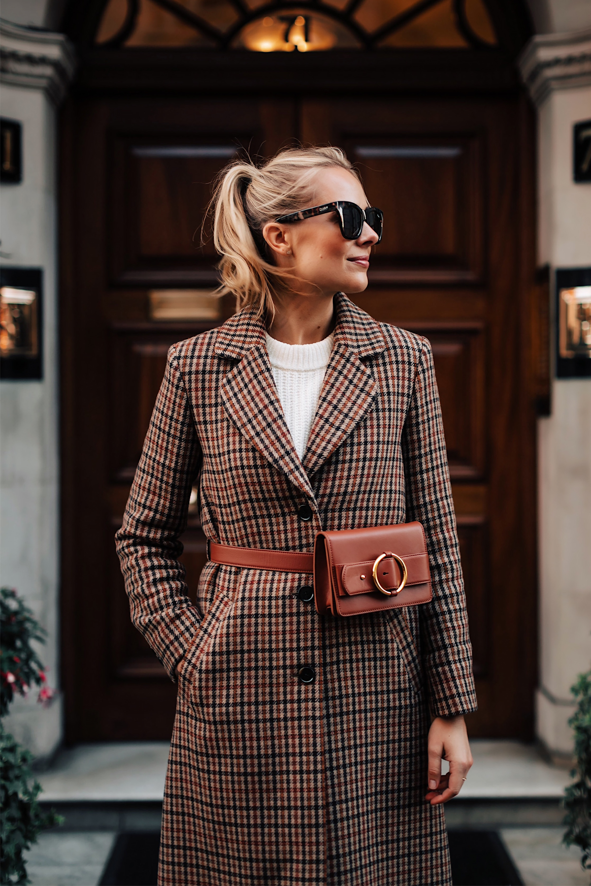 Blonde Woman Wearing Plaid Wool Coat White Sweater Parisa Wang Brown Belt Bag Fashion Jackson San Diego Fashion Blogger London Street Style