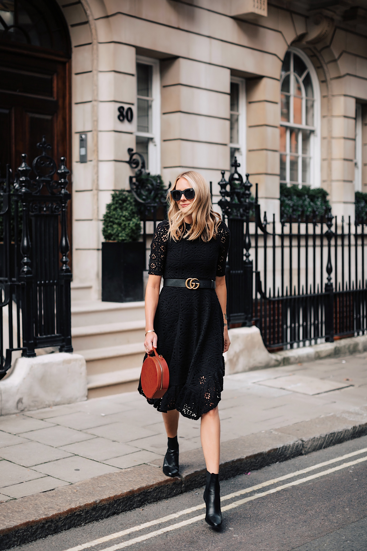 Blonde Woman Wearing See by Chloe Black Lace Midi Dress Gucci Logo Belt Black Booties Mansur Gavriel Circle Tan Bag Fashion Jackson San Diego Fashion Blogger London Street Style