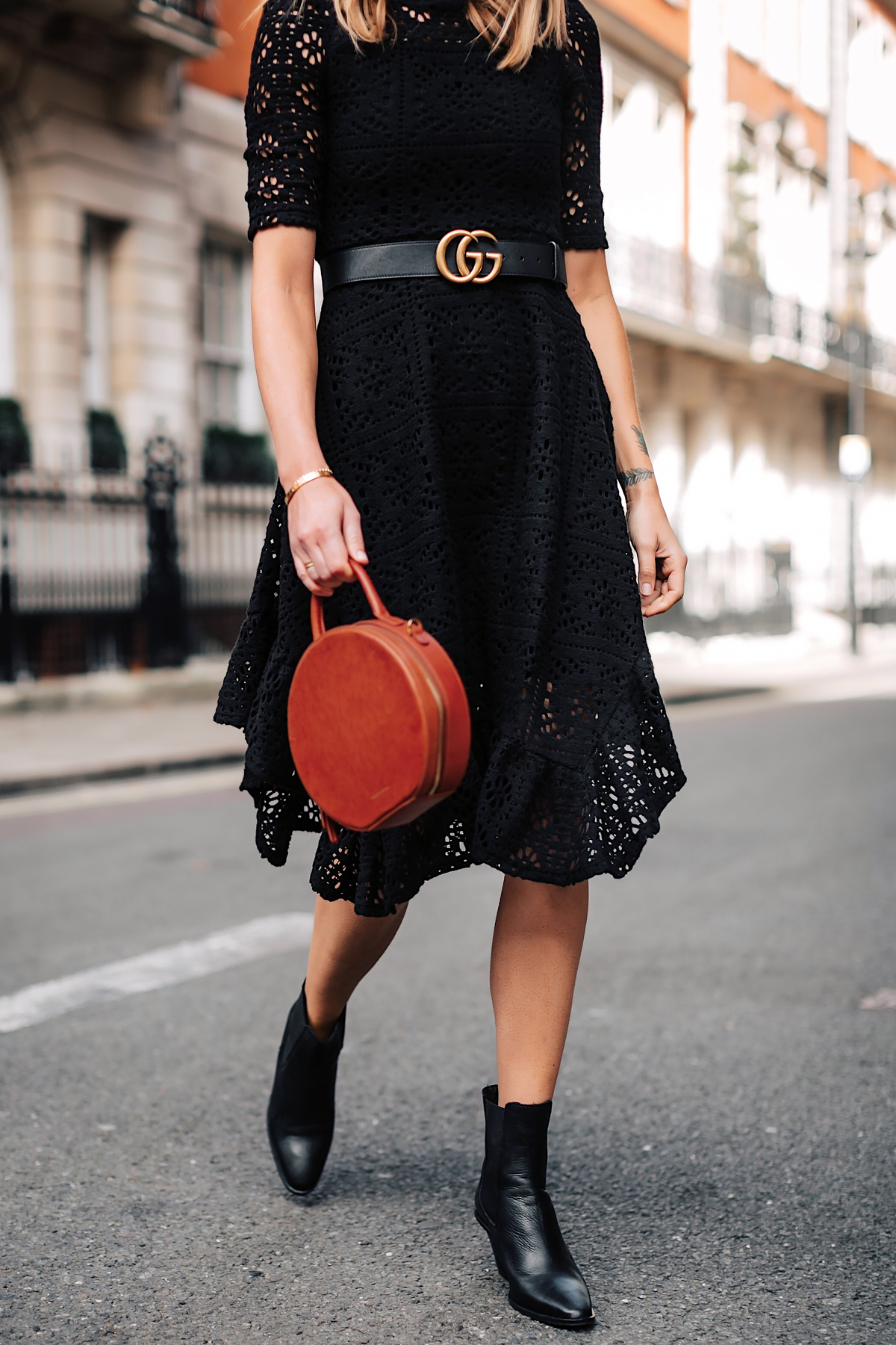 Woman Wearing See by Chloe Black Lace Midi Dress Gucci Logo Belt Black Booties Mansur Gavriel Circle Tan Bag Fashion Jackson San Diego Fashion Blogger London Street Style