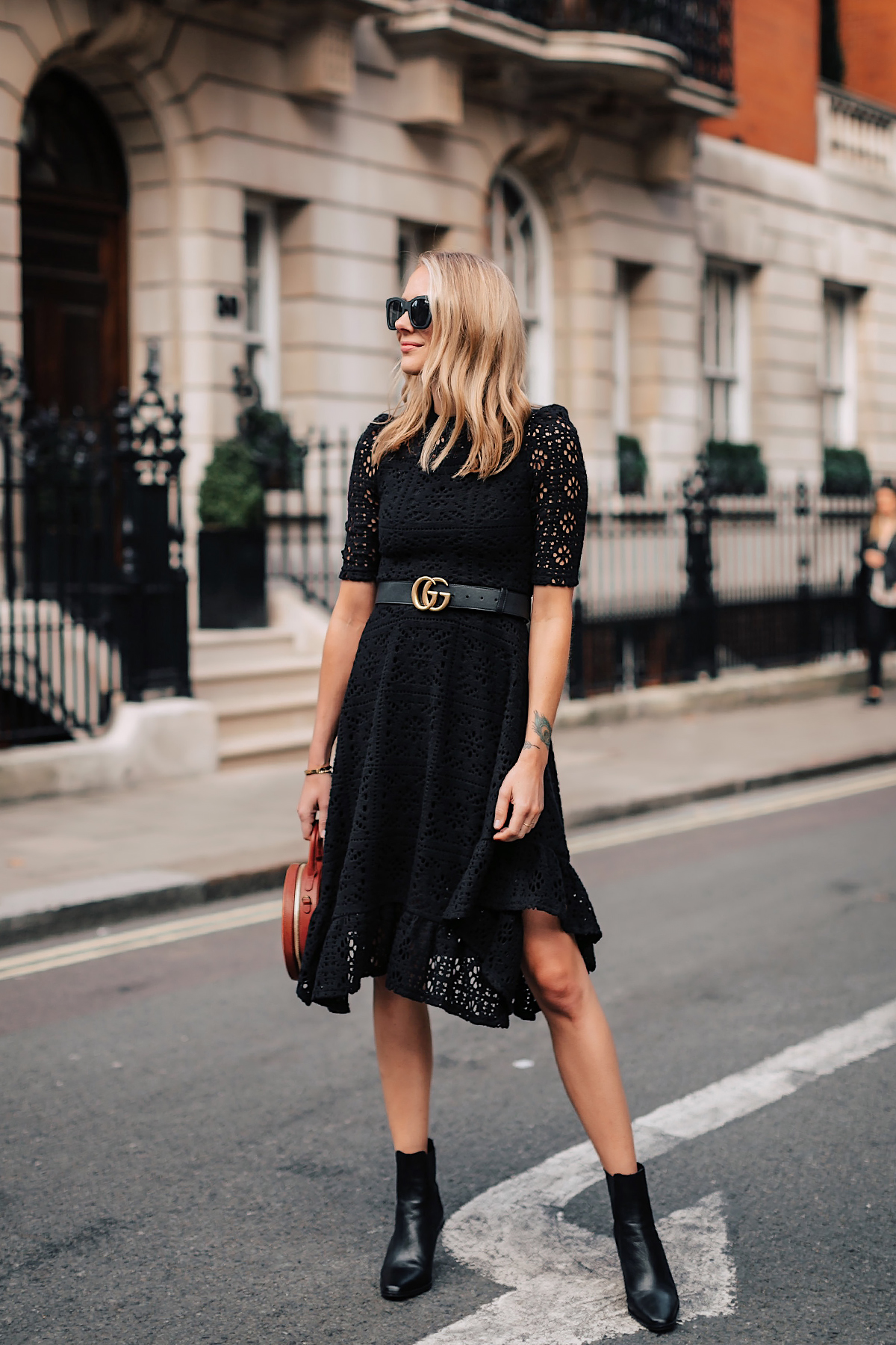 Blonde Woman Wearing See by Chloe Black Lace Midi Dress Gucci Logo Belt Black Booties Tan Circle Bag Fashion Jackson San Diego Fashion Blogger London Street Style