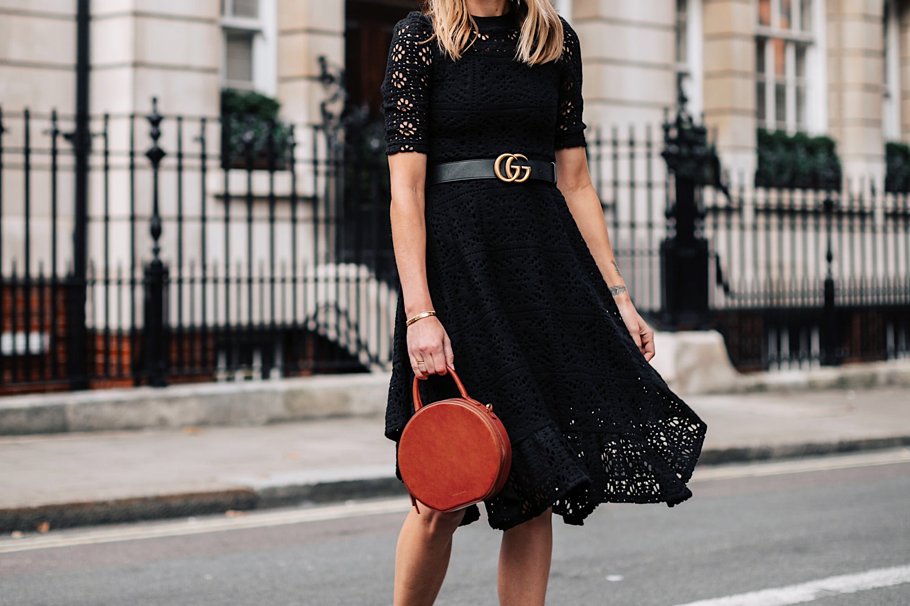 Woman Wearing See by Chloe Black Lace Midi Dress Gucci Logo Belt Mansur Gavriel Tan Circle Bag Fashion Jackson San Diego Fashion Blogger London Street Style