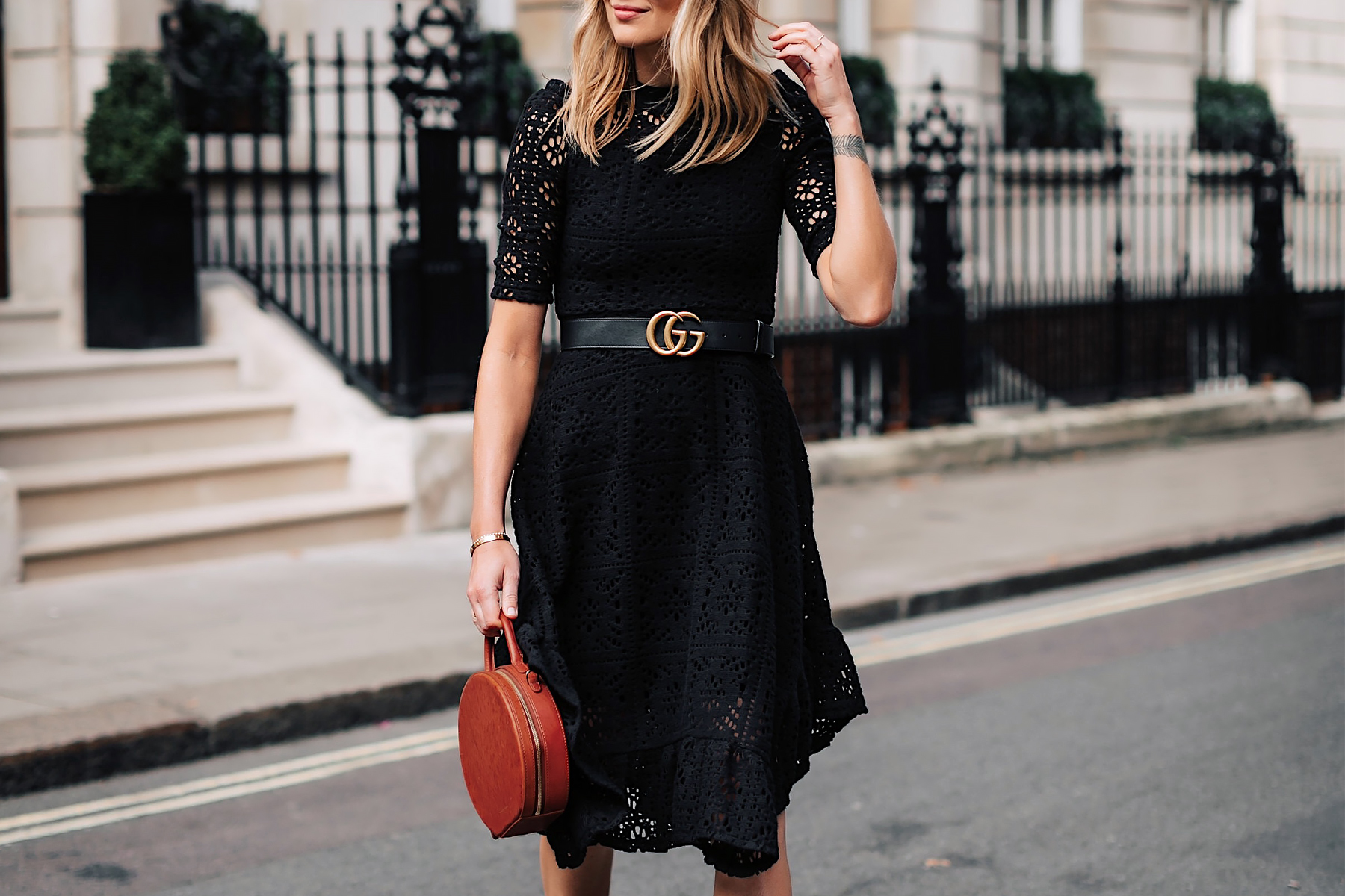 Blonde Woman Wearing See by Chloe Black Lace Midi Dress Gucci Logo Belt Mansur Gavriel Tan Circle Bag Fashion Jackson San Diego Fashion Blogger London Street Style