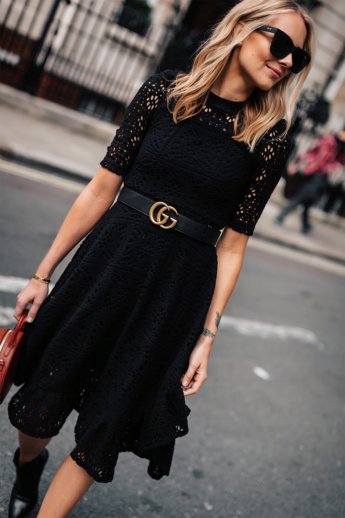 Blonde Woman Wearing See by Chloe Black Lace Midi Dress Gucci Logo Belt Fashion Jackson San Diego Fashion Blogger London Street Style