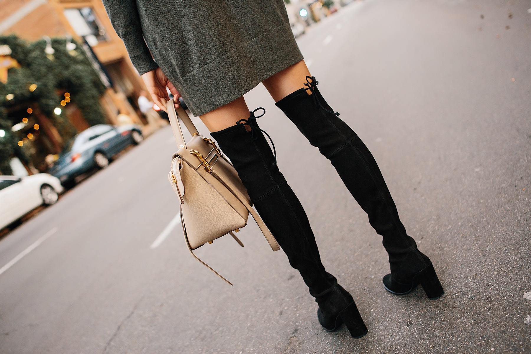 Woman Wearing Stuart Weitzman Black Over the Knee Boots Sweater Dress Fashion Jackson San Diego Fashion Blogger Street Style