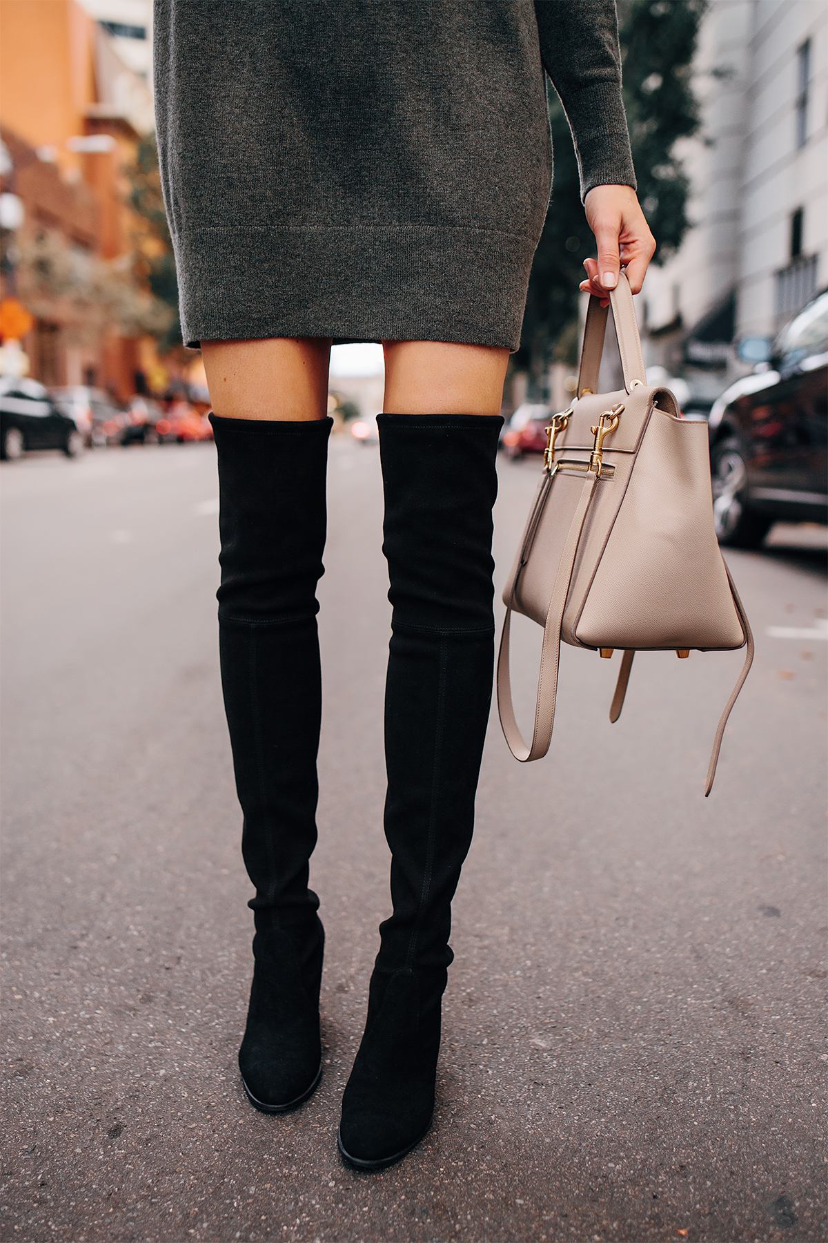 Woman Wearing Sweater Dress Stuart Weitzman Black Over the Knee Boots Fashion Jackson San Diego Fashion Blogger Street Style