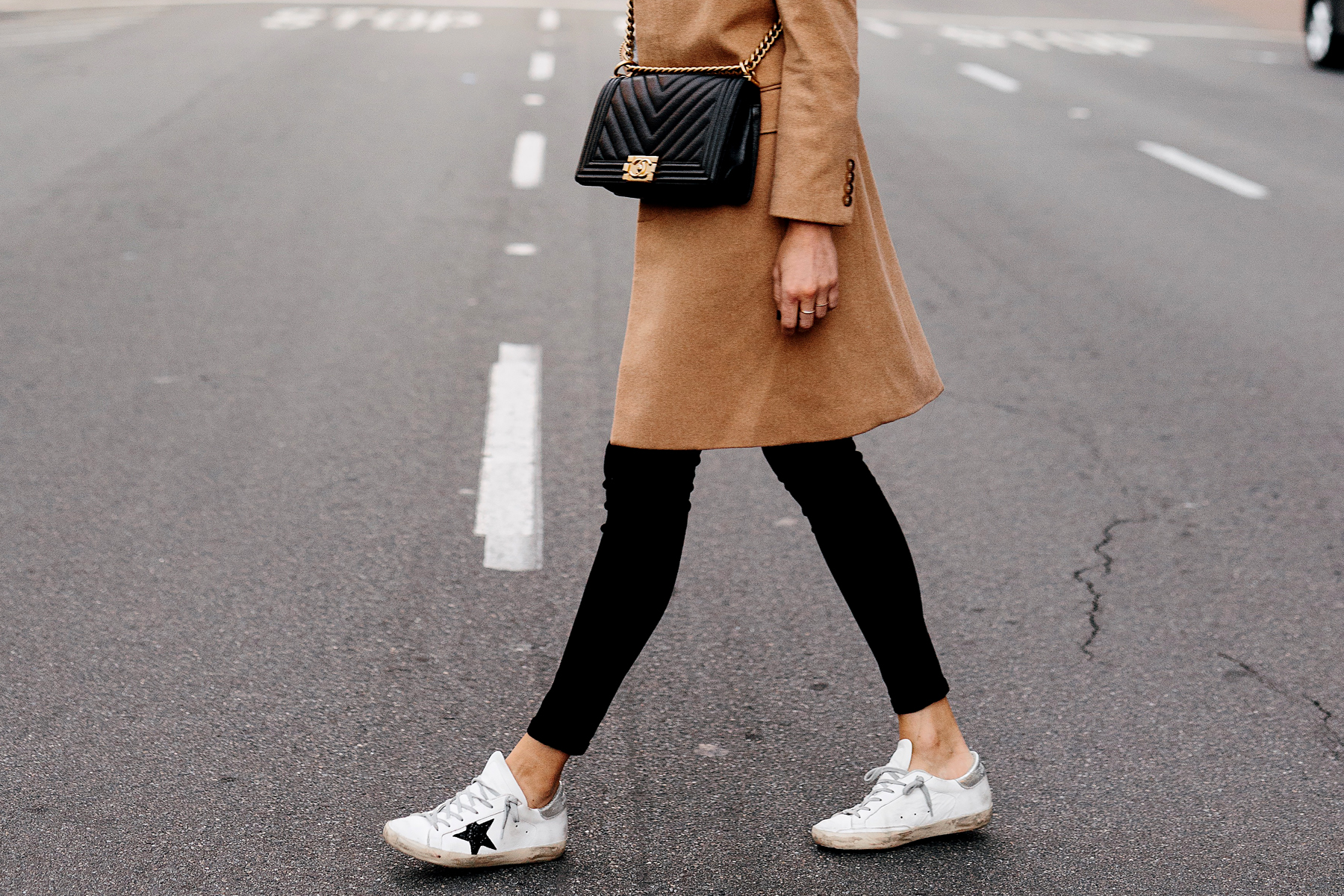 Woman Wearing Camel Coat Black Skinny Jeans Golden Goose Delux Brand Sneakers Outfit Chanel Black Boy Bag Fashion Jackson San Diego Fashion Blogger Street Style