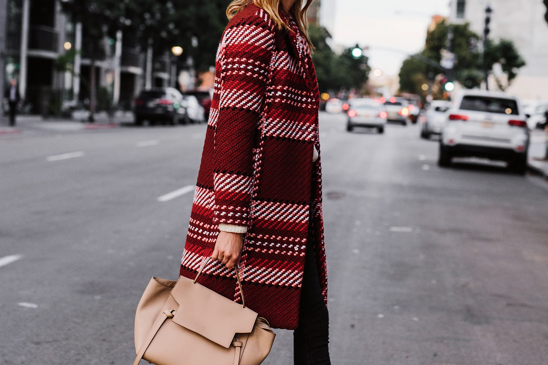 Woman Wearing Express Red Plaid Coat Celine Mini Belt Bag Fashion Jackson San Diego Fashion Blogger Street Style