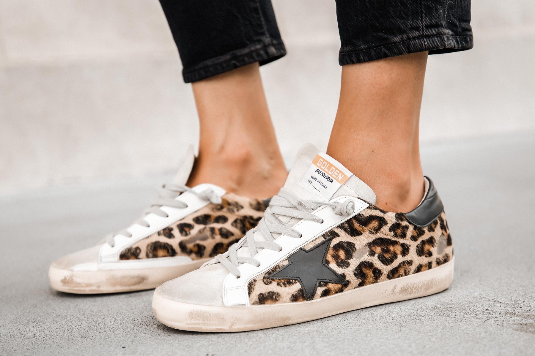 Fashion Jackson Wearing Golden Goose Superstar Sneakers Leopard