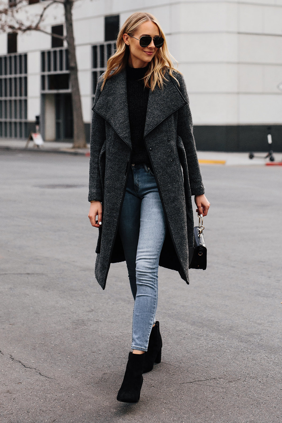 Blonde Woman Wearing Grey Wool Wrap Coat Black Sweater Denim Skinny Jeans Black Booties Outfit Fashion Jackson San Diego Fashion Blogger Street Style