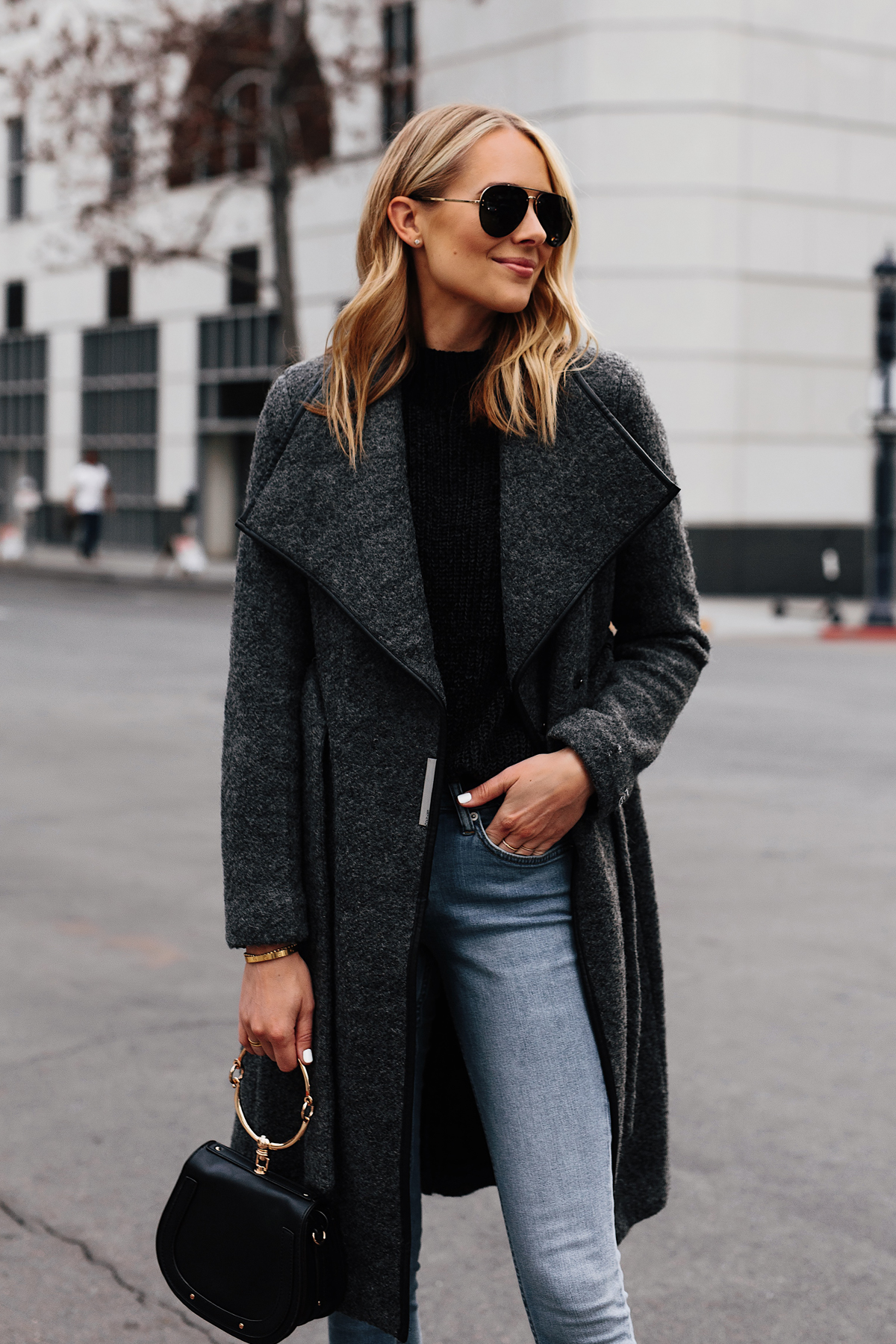 Blonde Woman Wearing Grey Wool Wrap Coat Black Sweater Denim Skinny Jeans Outfit Fashion Jackson San Diego Fashion Blogger Street Style