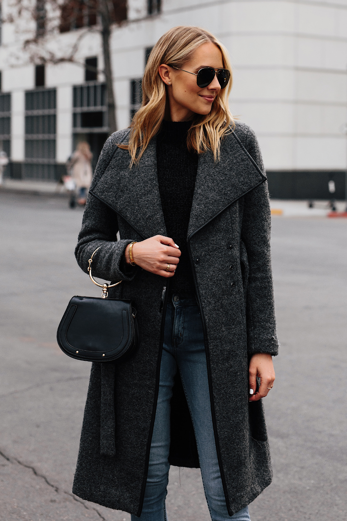 Blonde Woman Wearing Wearing Grey Wool Wrap Coat Black Sweater Denim Skinny Jeans Outfit Fashion Jackson San Diego Fashion Blogger Street Style