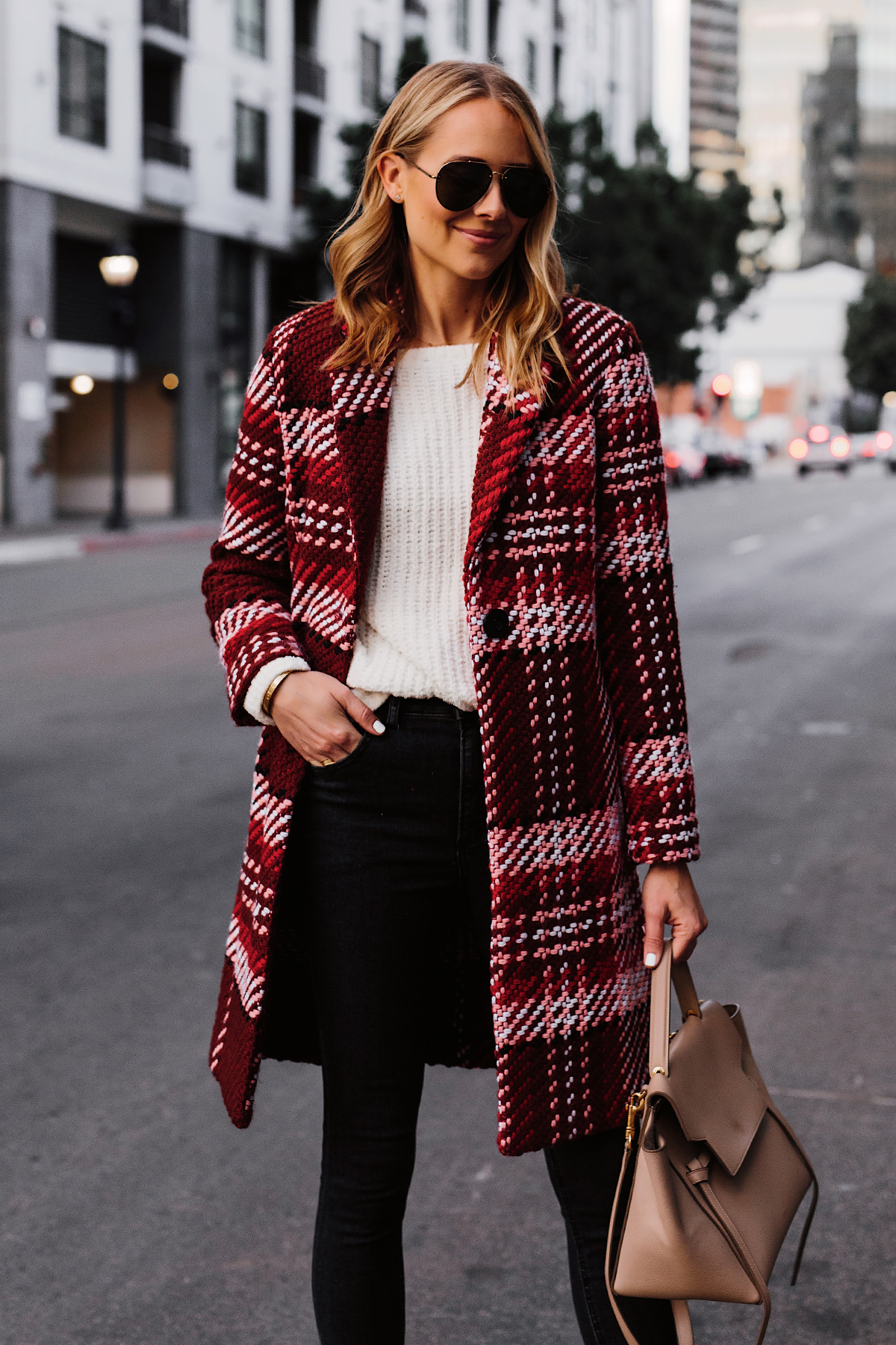 Blonde Woman Wearing Red Plaid Coat White Sweater Black Jeans Celine Mini Belt Bag Fashion Jackson San Diego Fashion Blogger Street Style