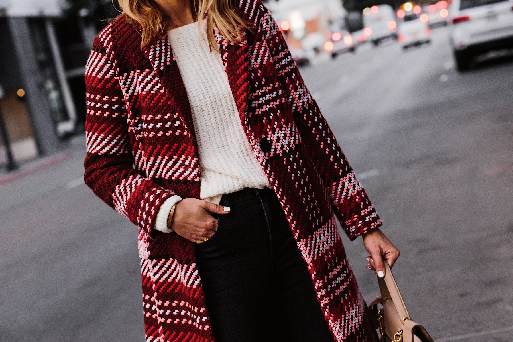 Blonde Woman Wearing Red Plaid Coat White Sweater Black Jeans Fashion Jackson San Diego Fashion Blogger Street Style