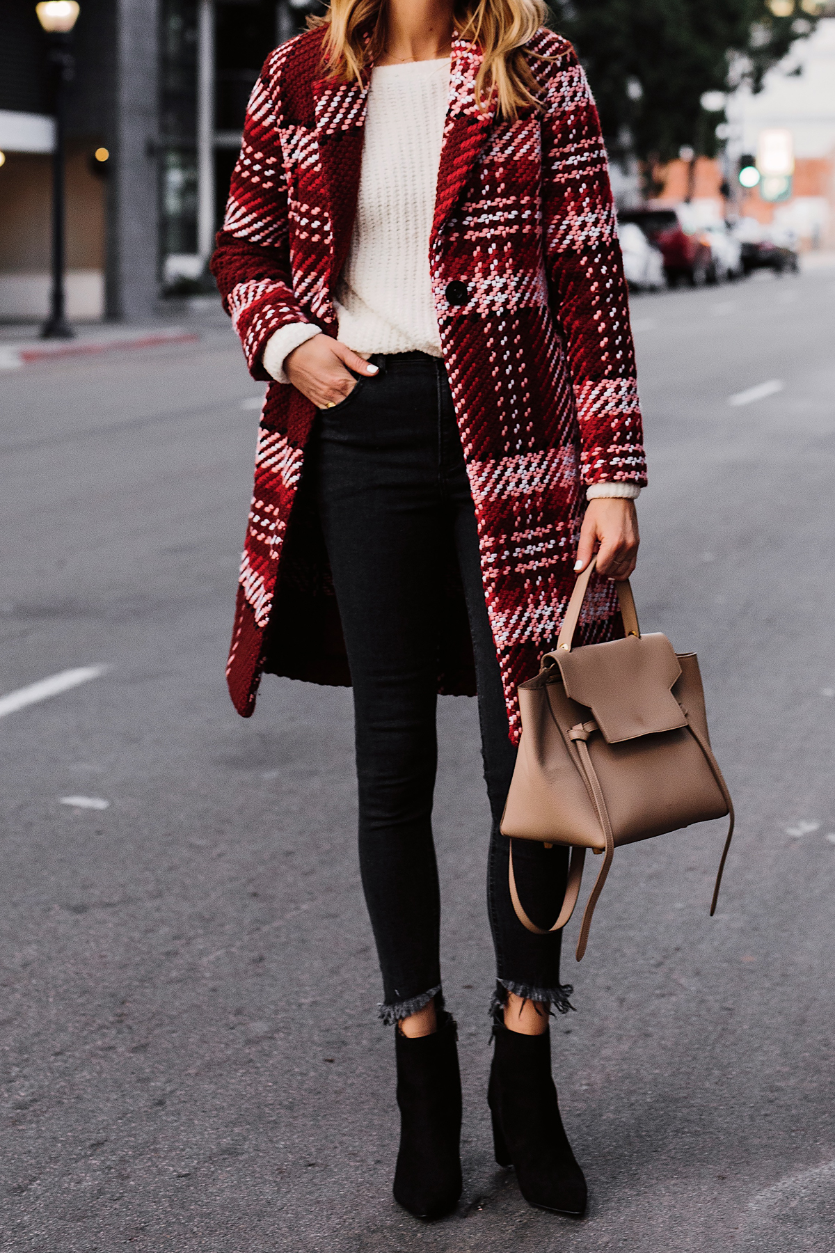 Blonde Woman Wearing Red Plaid Coat White Sweater Black Skinny Jeans Black Booties Celine Mini Belt Bag Fashion Jackson San Diego Fashion Blogger Street Style