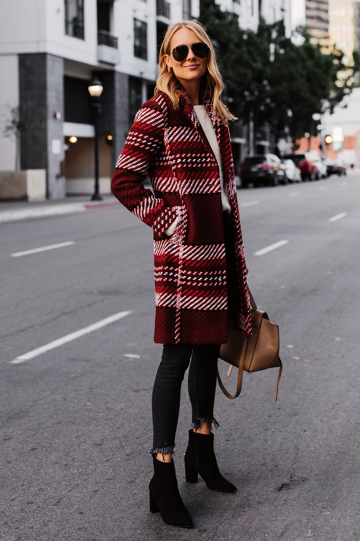 Blonde Woman Wearing Red Plaid Coat White Sweater Black Skinny Jeans Black Booties Fashion Jackson San Diego Fashion Blogger Street Style