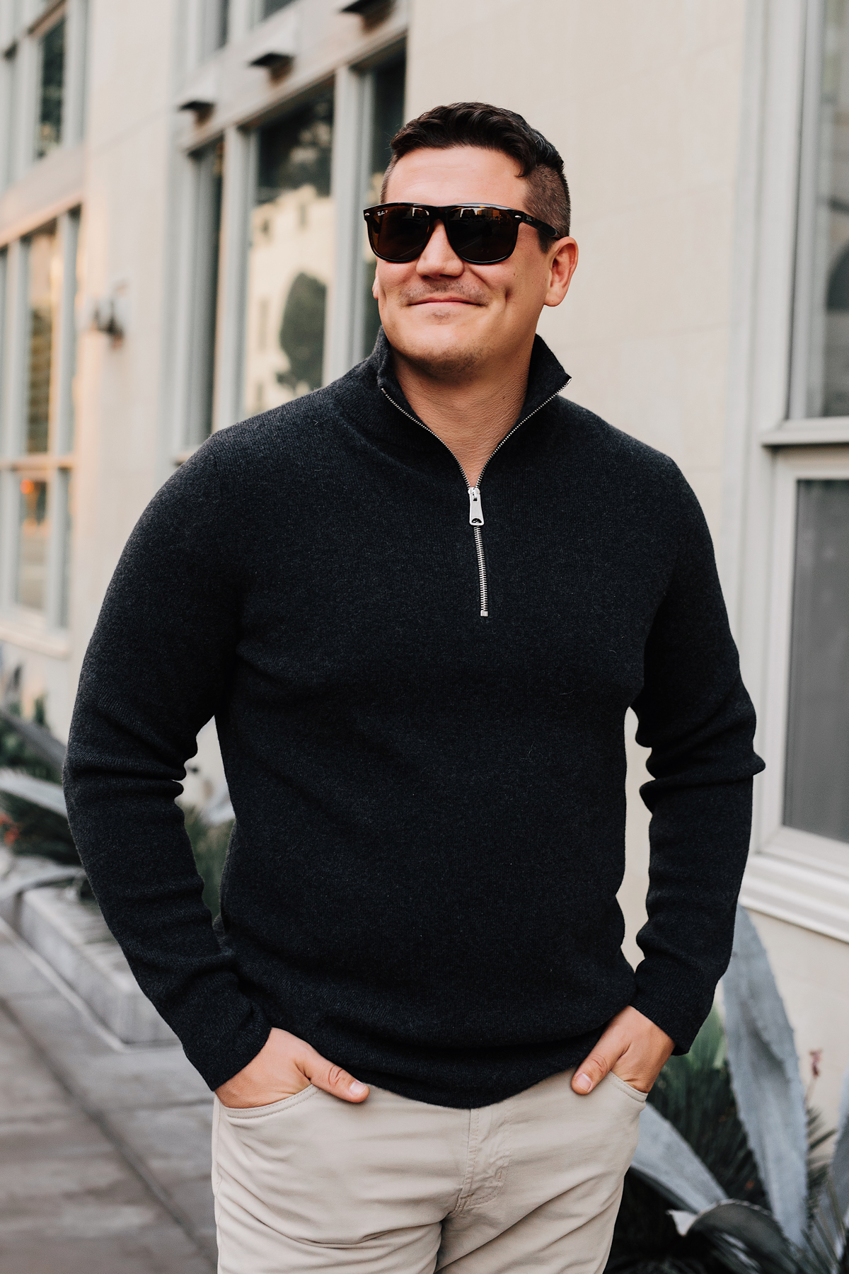 Mens Fashion Blogger Wearing Burberry Quarter Zip Cashmere Sweater 1