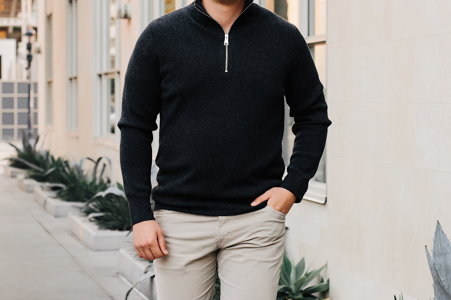 Mens Fashion Blogger Wearing Burberry Quarter Zip Cashmere Sweater