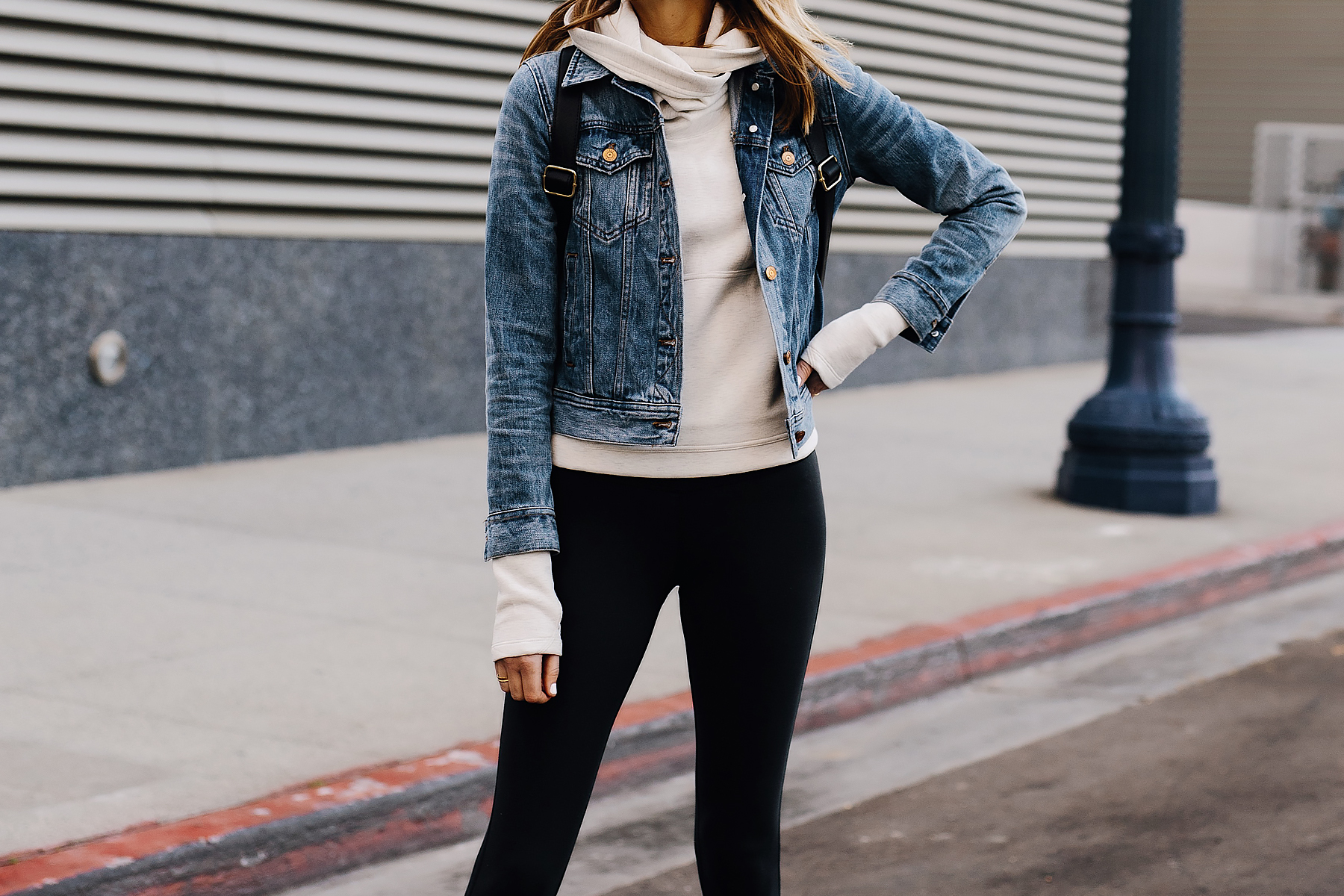 Fashion Jackson Athleisure Outfit Denim Jacket Grey Sweatshirt Black Leggings Fashion Jackson San Diego Fashion Blogger Street Style