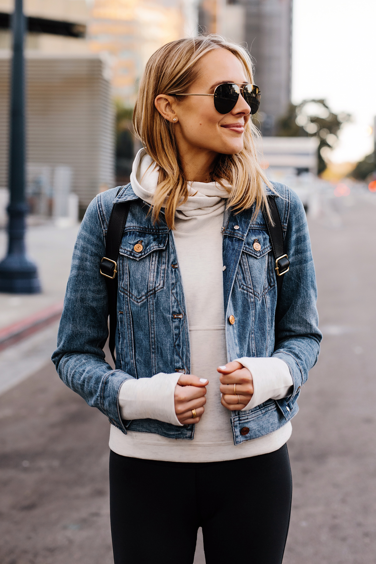 Fashion Jackson Athleisure Outfit Wearing Denim Jacket Grey Sweatshirt Black Leggings Aviator Sunglasses Fashion Jackson San Diego Fashion Blogger Street Style
