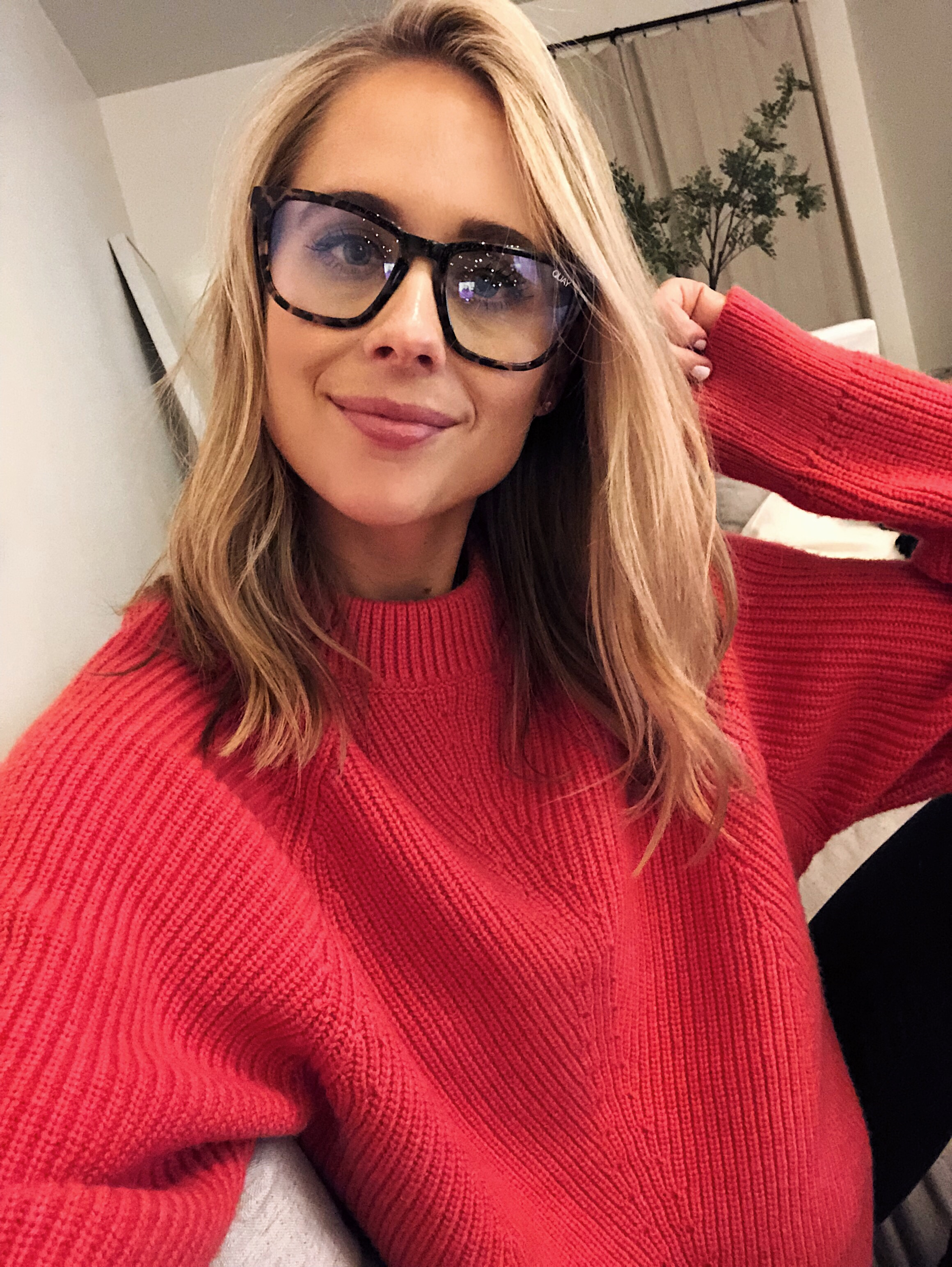 Fashion Jackson Wearing Blue Light Blocking Glasses Red ALC Sweater