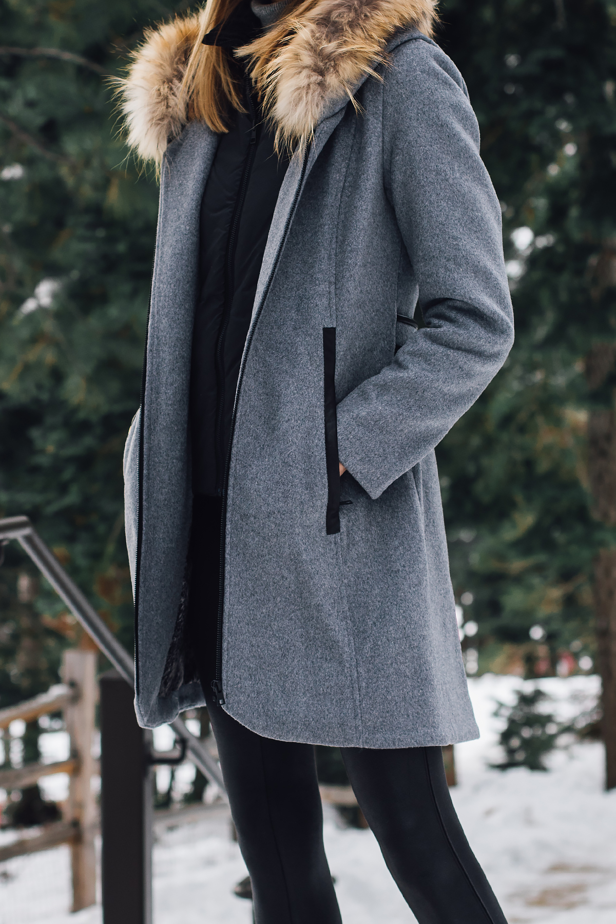 Blonde Woman Wearing Grey Wool Coat with Faux Fur Trim Fashion Jackson San Diego Fashion Blogger Lake Tahoe Winter Outfit