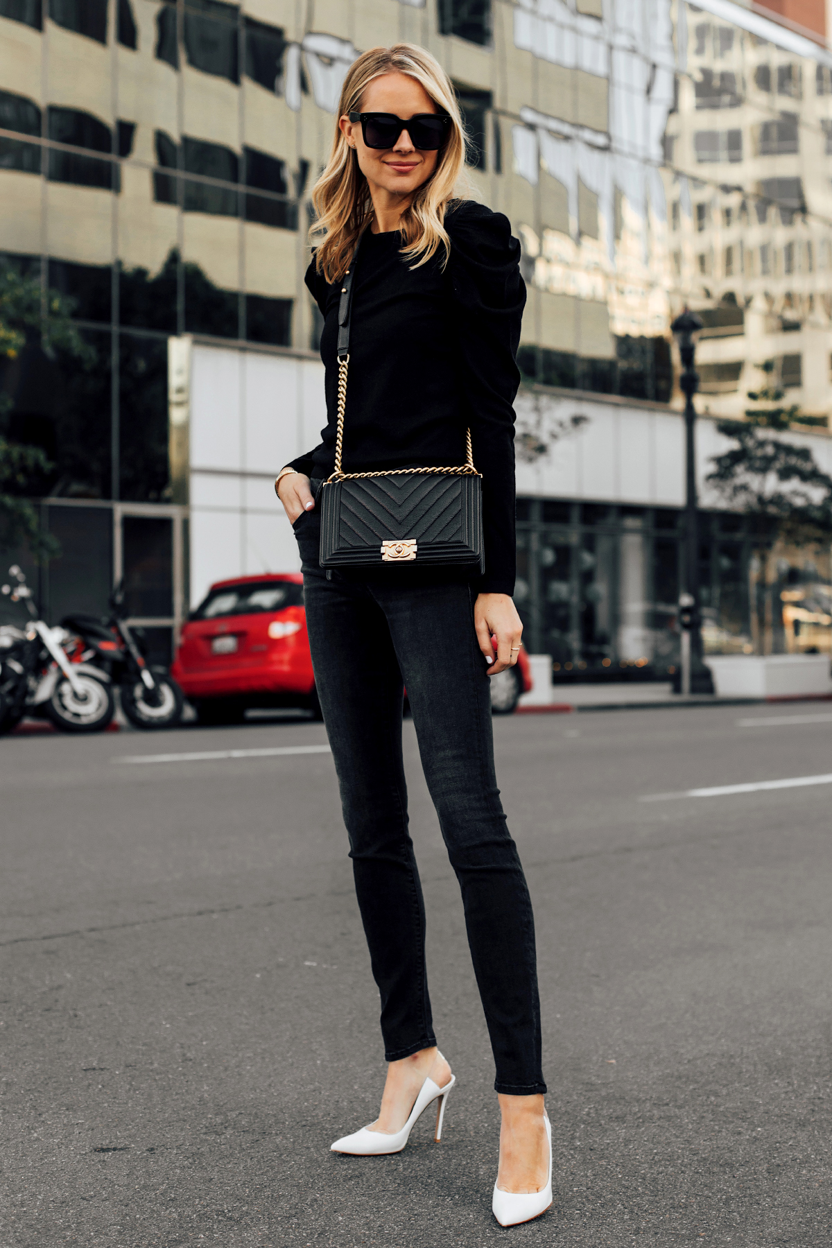 Blonde Woman Wearing Alice and Olivia Black Lidia Sweater Mother Denim Black Skinny Jeans White Pumps Chanel Black Boy Bag Fashion Jackson San Diego Fashion Blogger Street Style