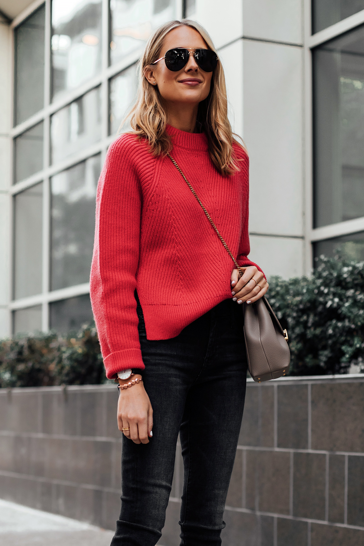 Blonde Woman Wearing AllSaints Red Sweater Black Skinny Jeans Victoria Emerson Rose Gold Beaded Bracelet Celine Aviator Sunglasses Fashion Jackson San Diego Fashion Blogger Street Style