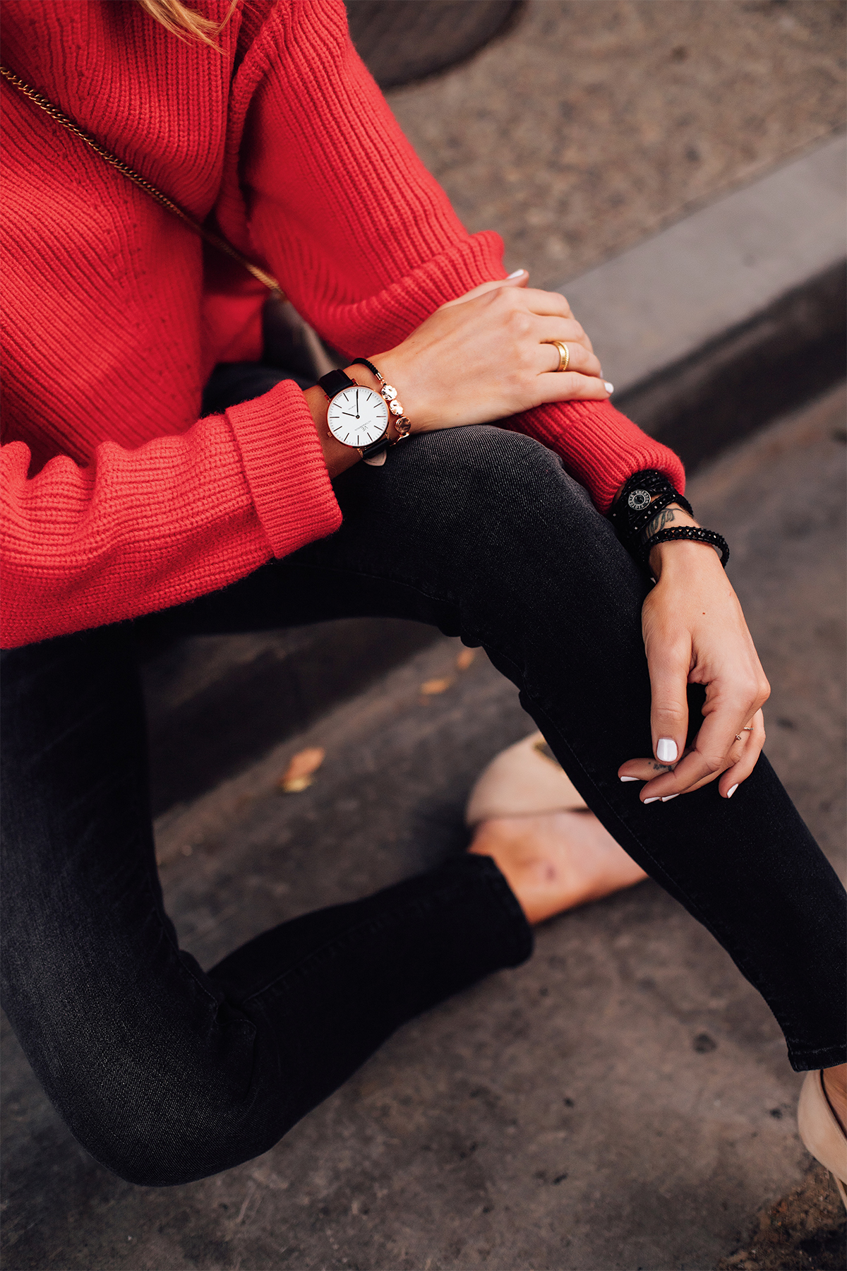 Woman Wearing AllSaints Red Sweater Mother Black Skinny Jeans Nude Pumps Victoria Emerson Black Rose Gold Watch Fashion Jackson San Diego Fashion Blogger Street Style
