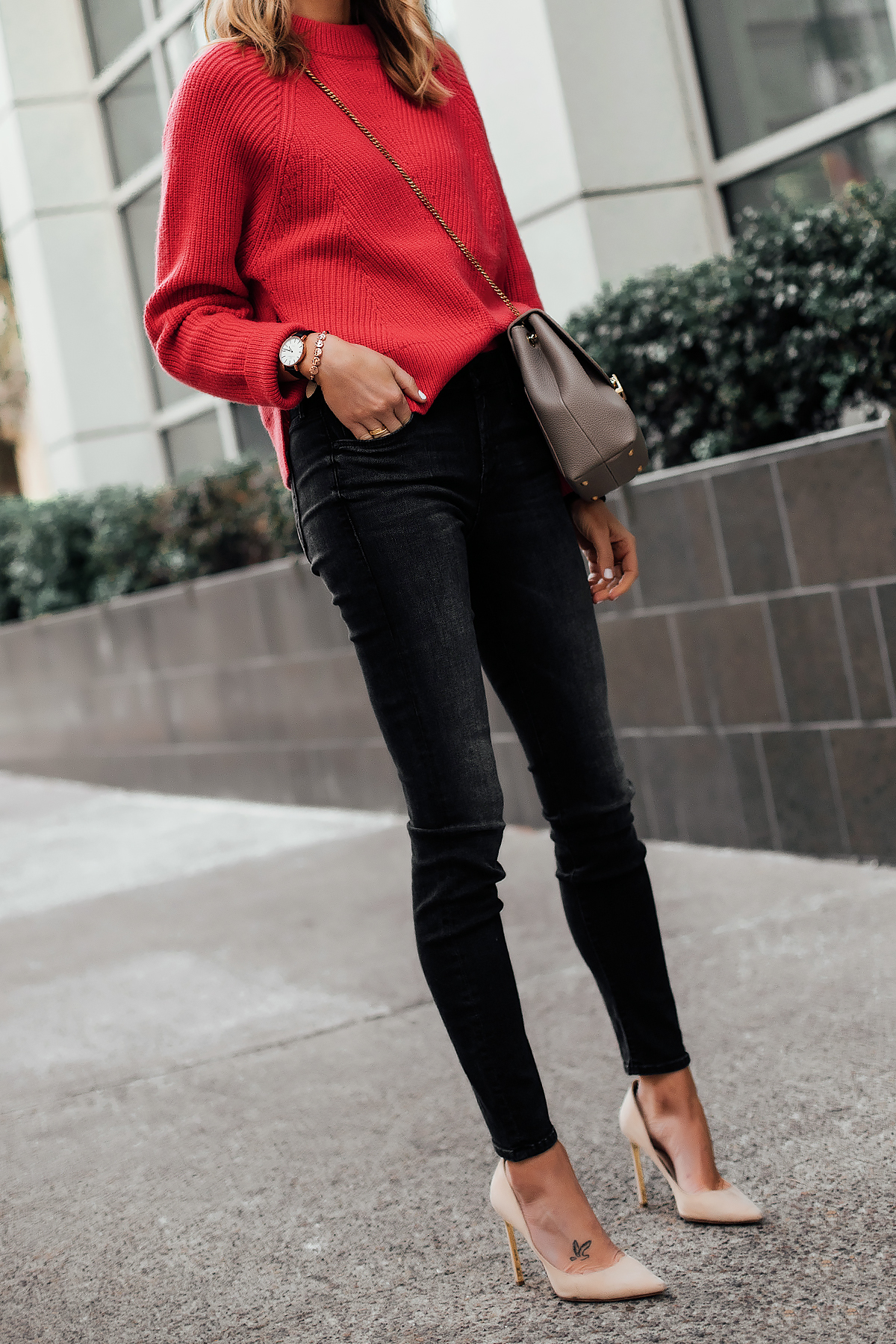 Blonde Woman Wearing AllSaints Red Sweater Mother Looker Black Jeans Nude Pumps Polene Taupe Handbag Fashion Jackson San Diego Fashion Blogger Street Style