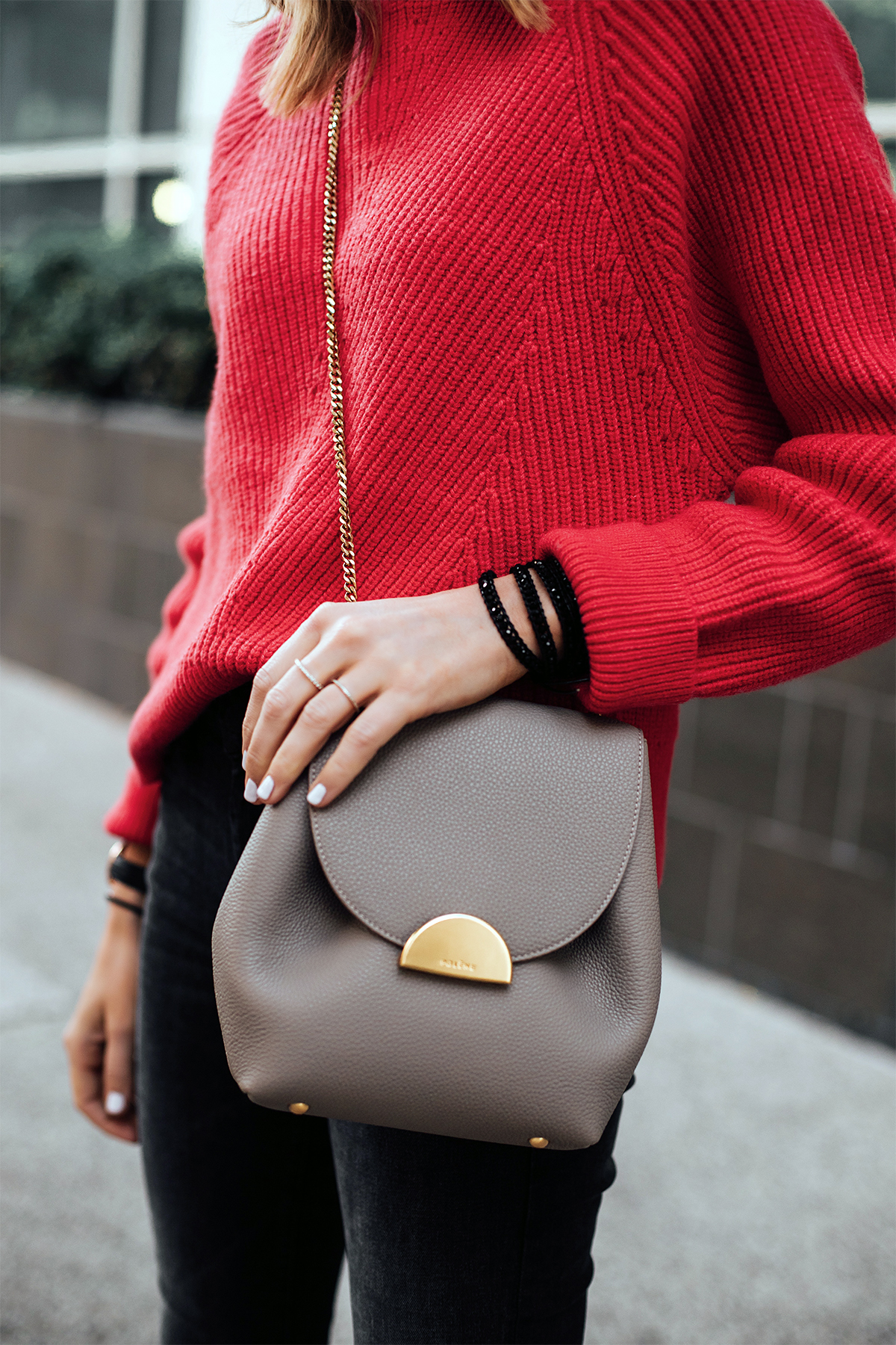 Woman Wearing AllSaints Red Sweater Polene Taupe Crossbody Handbag Victoria Emerson Beaded Black Wrap Bracelet Fashion Jackson San Diego Fashion Blogger Street Style