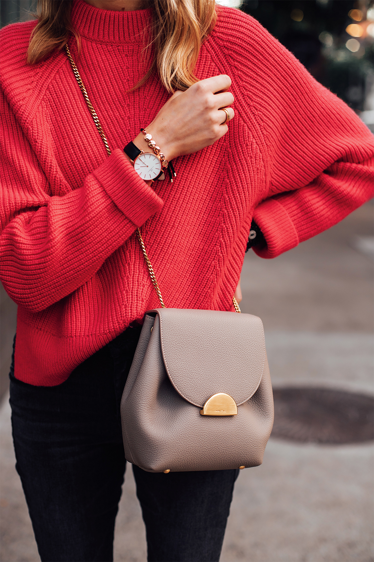 Blonde Woman Wearing AllSaints Red Sweater Polene Taupe Crossbody Handbag Victoria Emerson Black Rose Gold Watch Rose Gold Beaded Bracelet Fashion Jackson San Diego Fashion Blogger Street Style