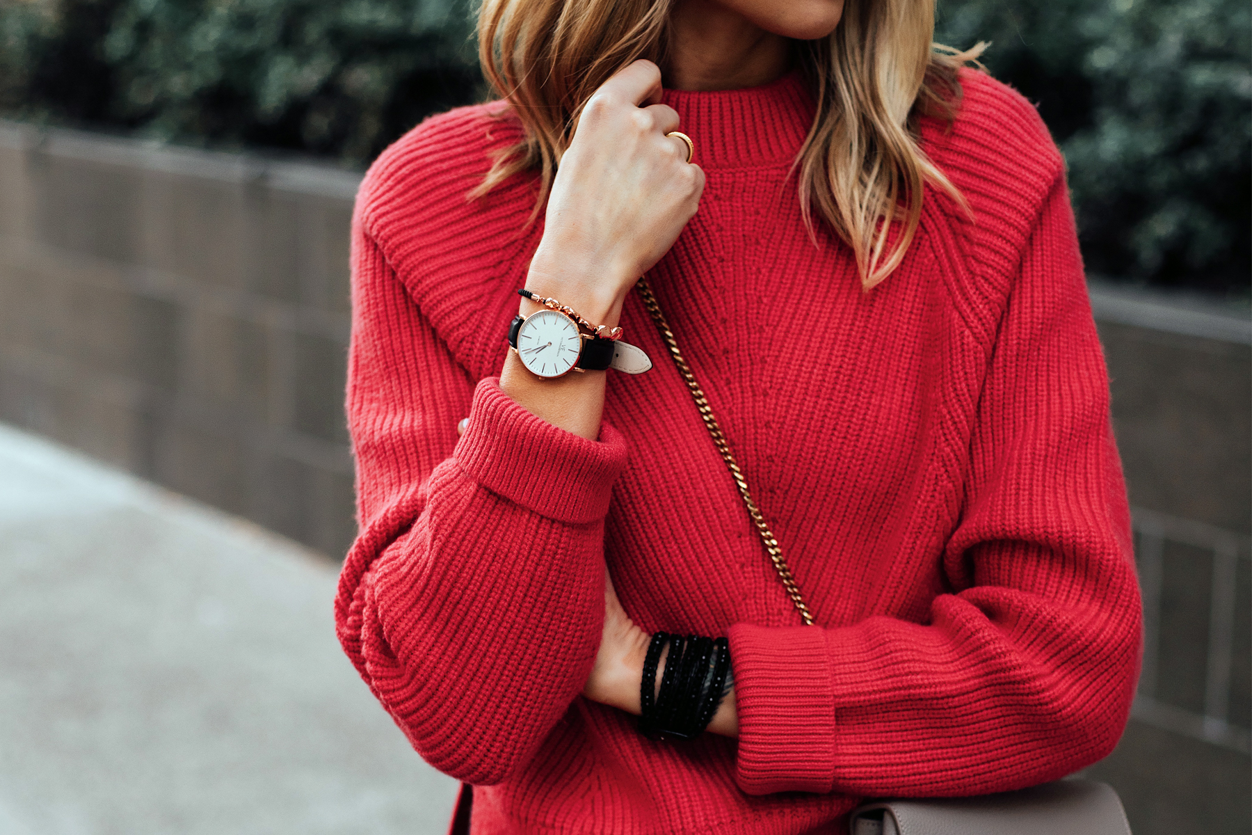 Blonde Woman Wearing AllSaints Red Sweater Victoria Emerson Black Rose Gold Watch Rose Gold Beaded Bracelet Victoria Emerson Beaded Black Wrap Bracelet Fashion Jackson San Diego Fashion Blogger Street Style