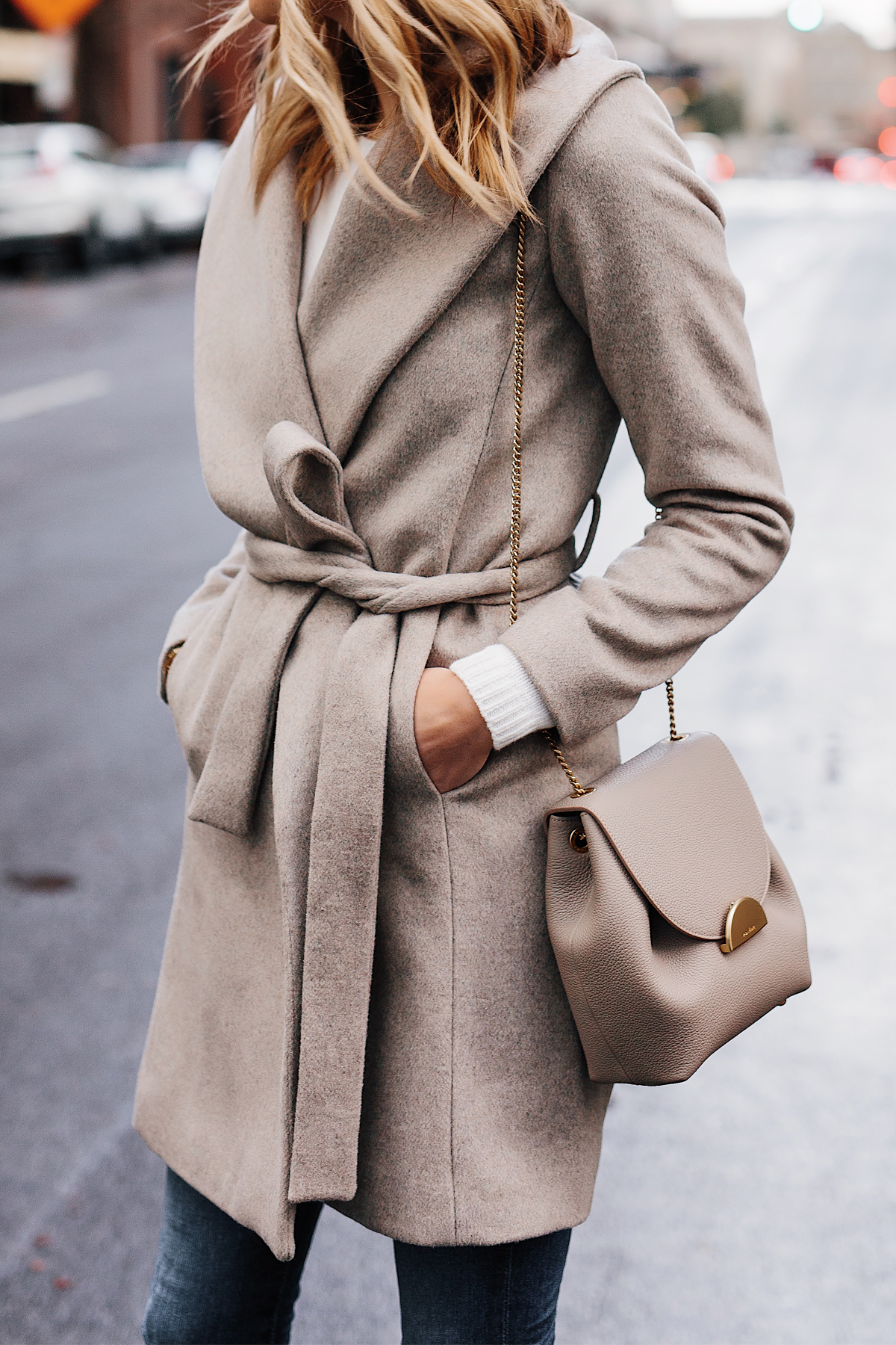 Blonde Woman Wearing Ann Taylor Beige Wrap Coat Polene Grey Handbag Fashion Jackson San Diego Fashion Blogger Street Style