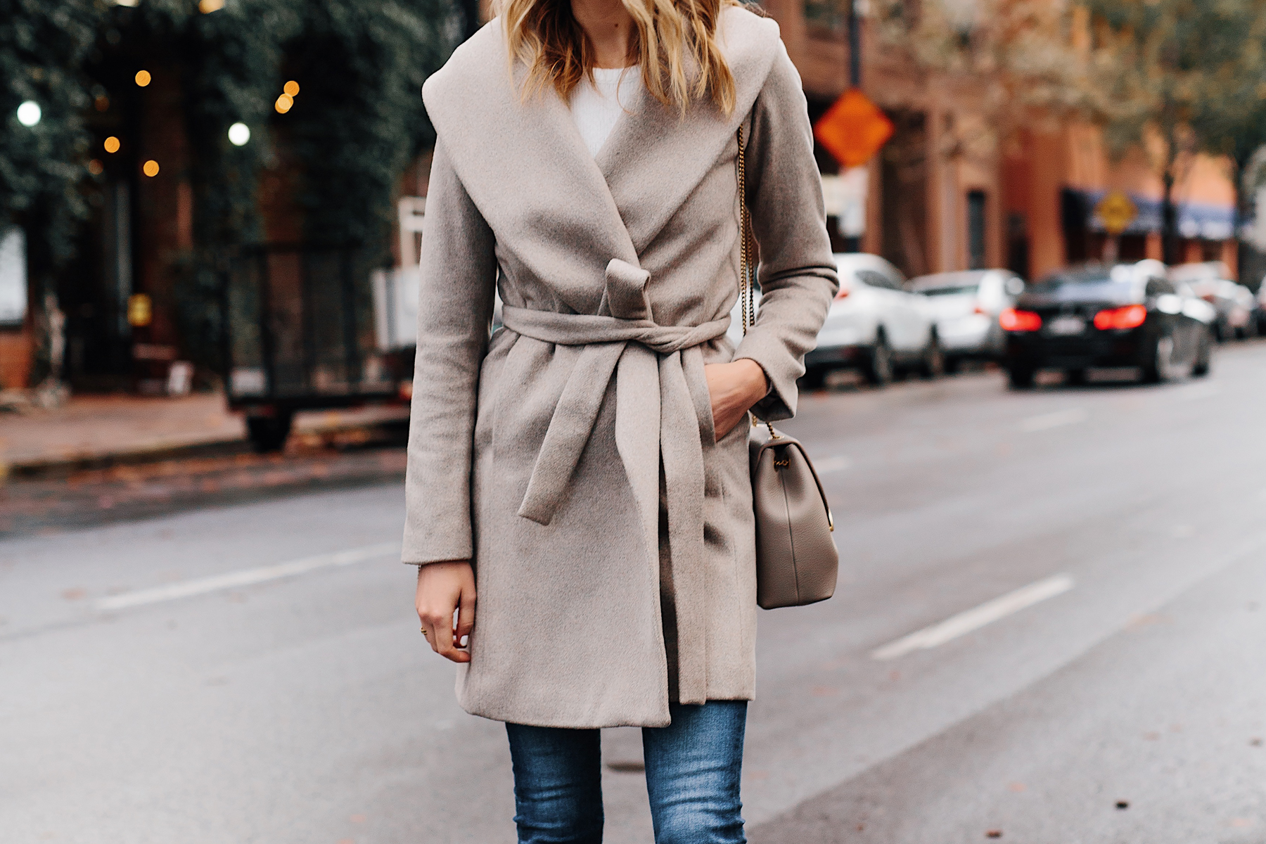 Blonde Woman Wearing Ann Taylor Beige Wrap Coat Fashion Jackson San Diego Fashion Blogger Street Style