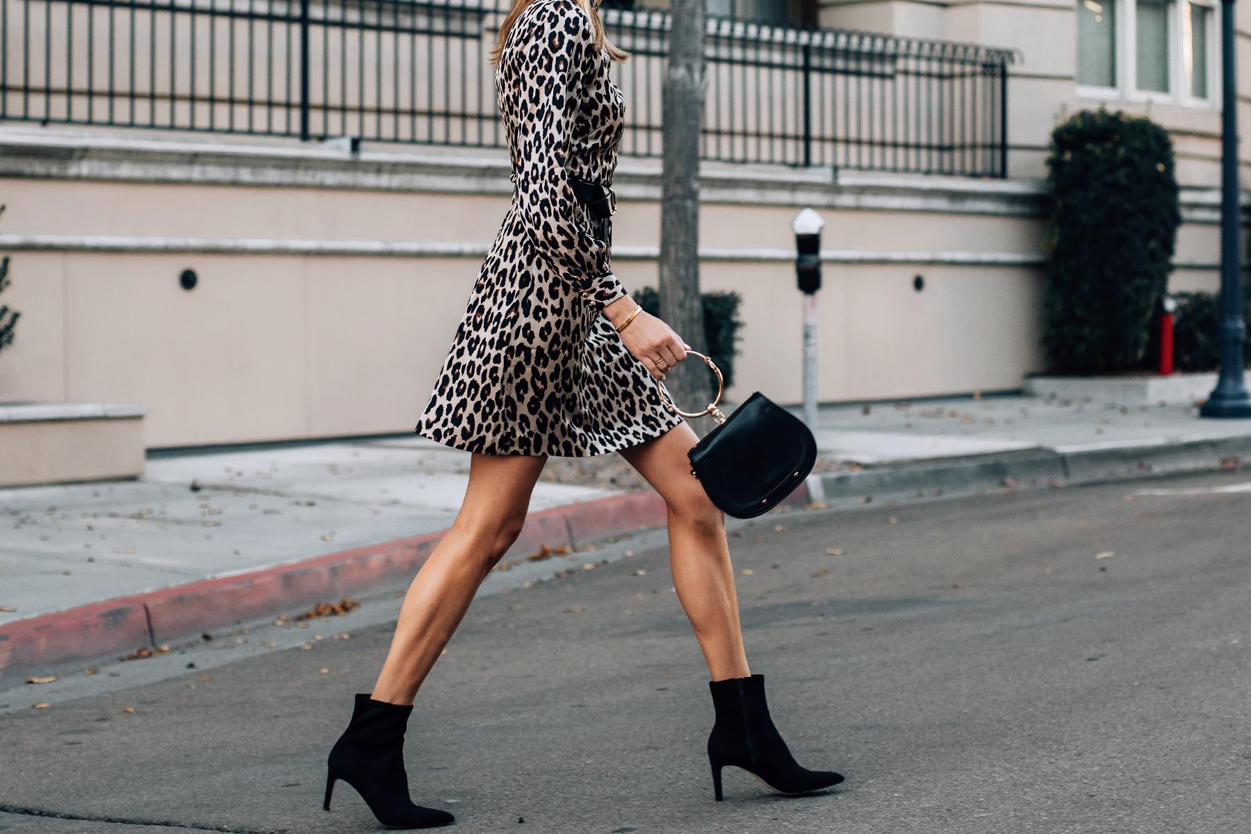 Woman Wearing Ann Taylor Leopard Dress Black Ankle Booties Fashion Jackson San Diego Fashion Blogger Street Style