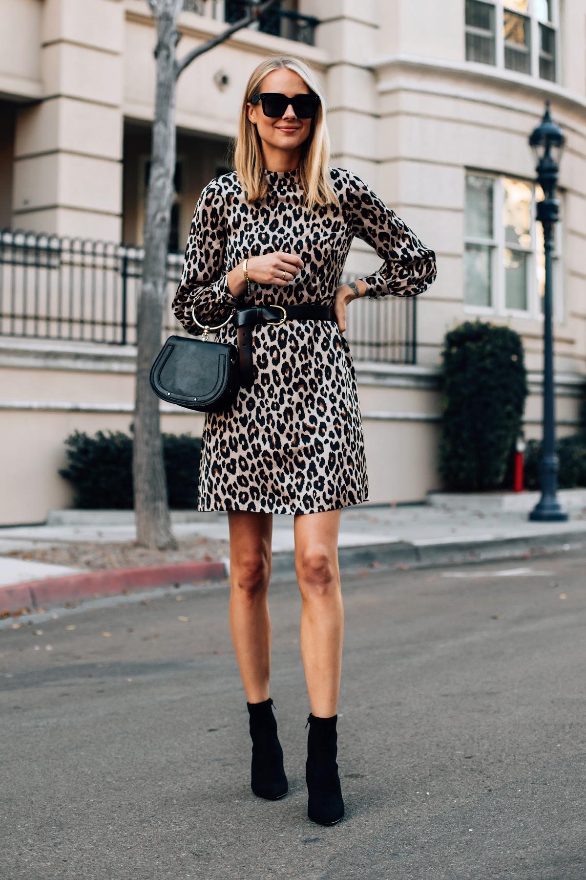Blonde Woman Wearing Ann Taylor Leopard Dress Black Wrap Belt Black Ankle Booties Fashion jackson San Diego Fashion Blogger Street Style