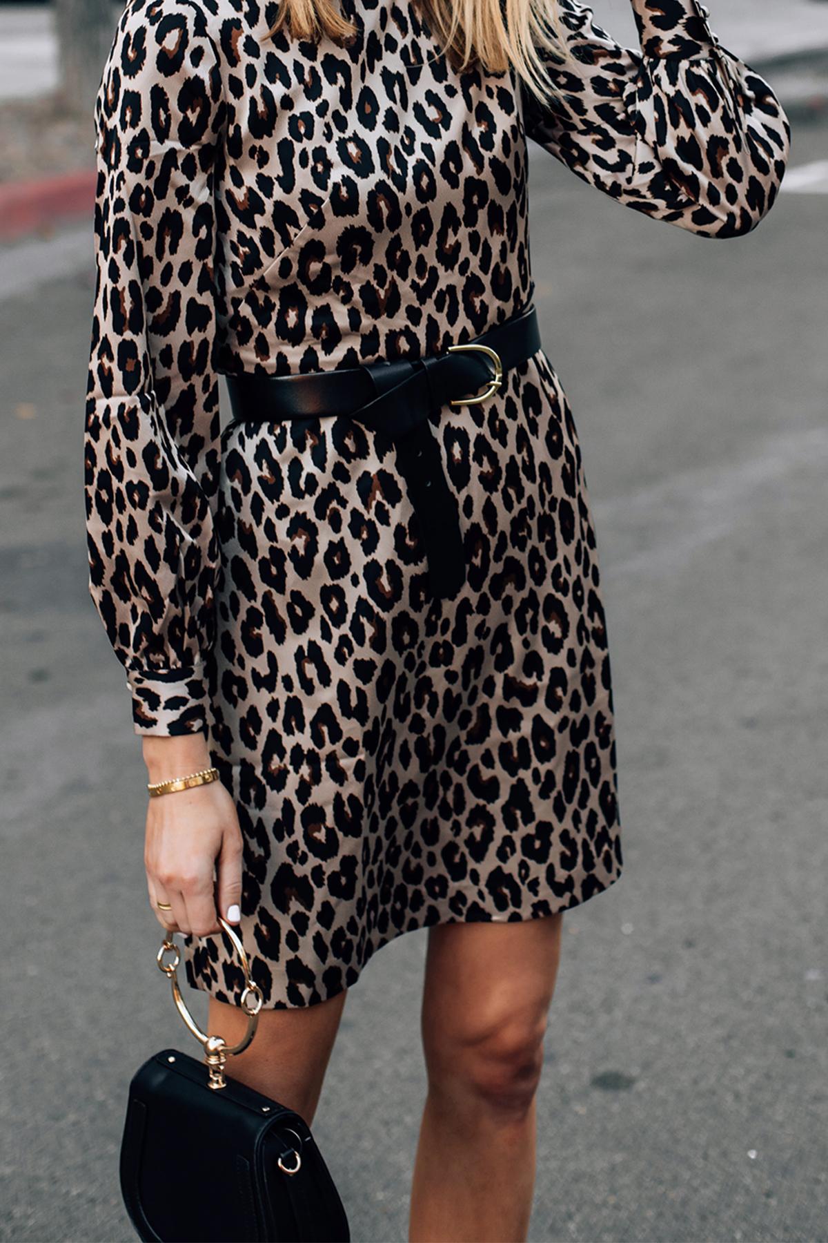Woman Wearing Ann Taylor Leopard Dress with Black Belt Fashion Jackson San Diego Fashion Blogger Street Style