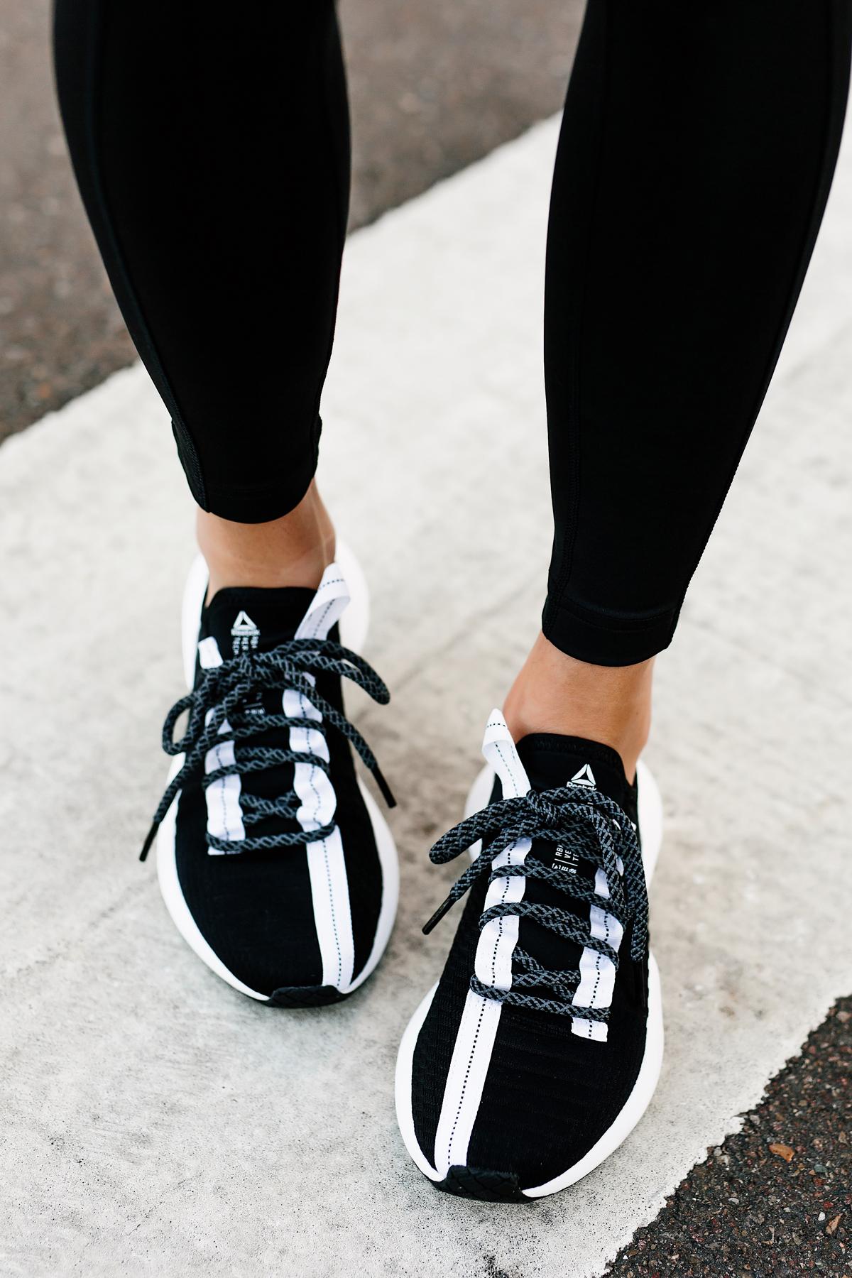 Woman Wearing Black Leggings Reebok Sole Fury Black Sneakers Fashion Jackson San Diego Fashion Blogger