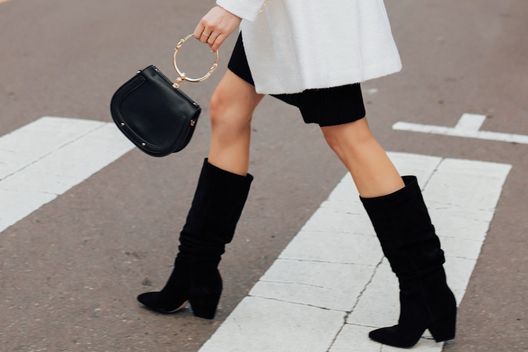 Woman Wearing Black Slouchy Boots Black Clutch Handbag Fashion Jackson San Diego Fashion Blogger Street Style