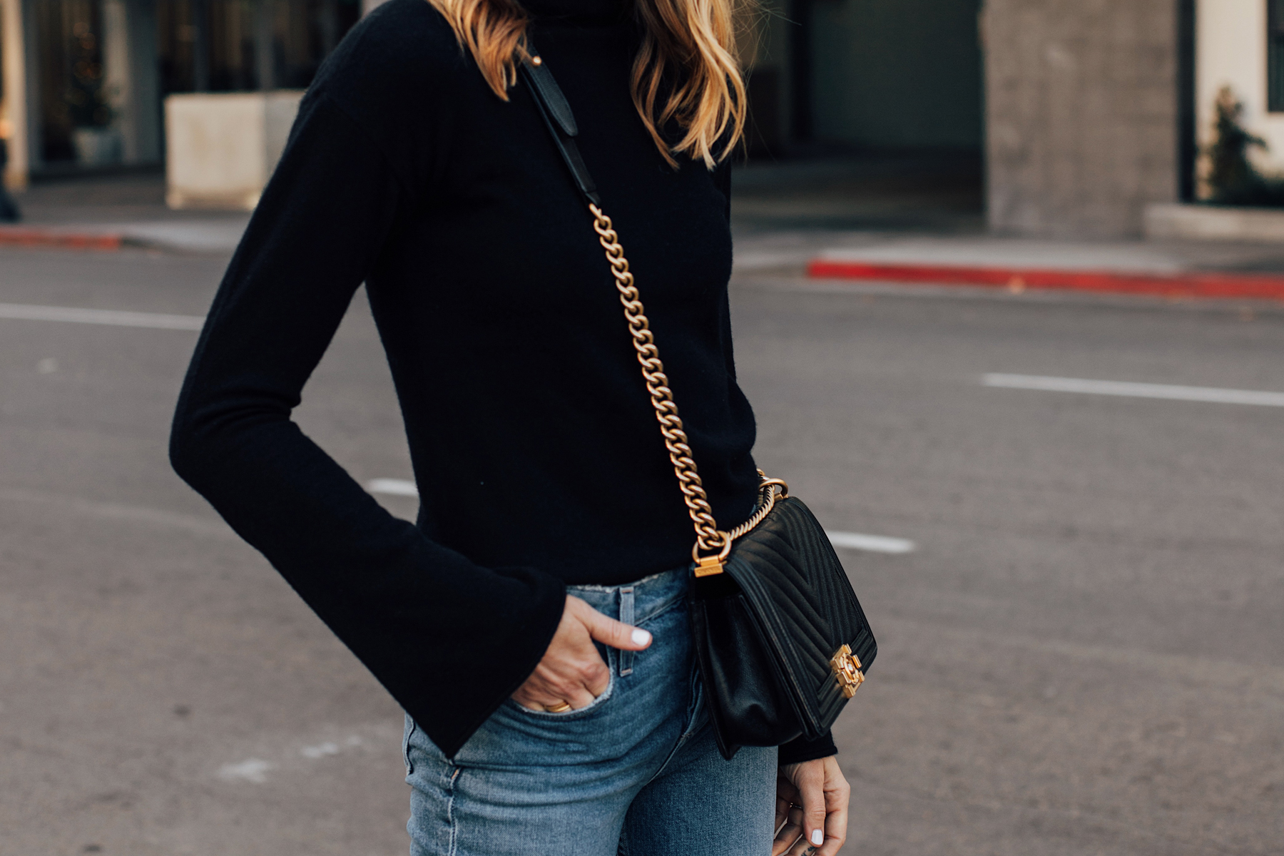 Woman Wearing Black Theory Bell Sleeve Sweater Chanel Black Boy Bag Fashion Jackson San Diego Fashion Blogger Street Style